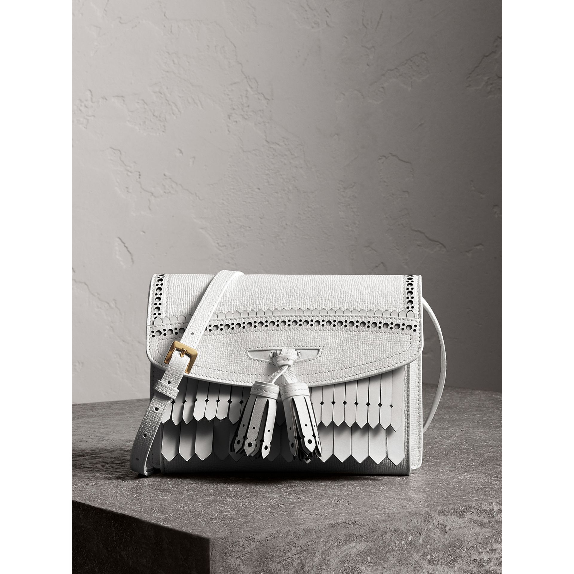 Brogue and Fringe Detail Leather Crossbody Bag in Chalk White - Women | Burberry - gallery image 0