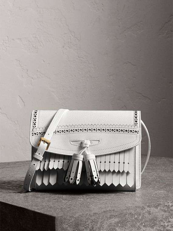Brogue and Fringe Detail Leather Crossbody Bag in Chalk White
