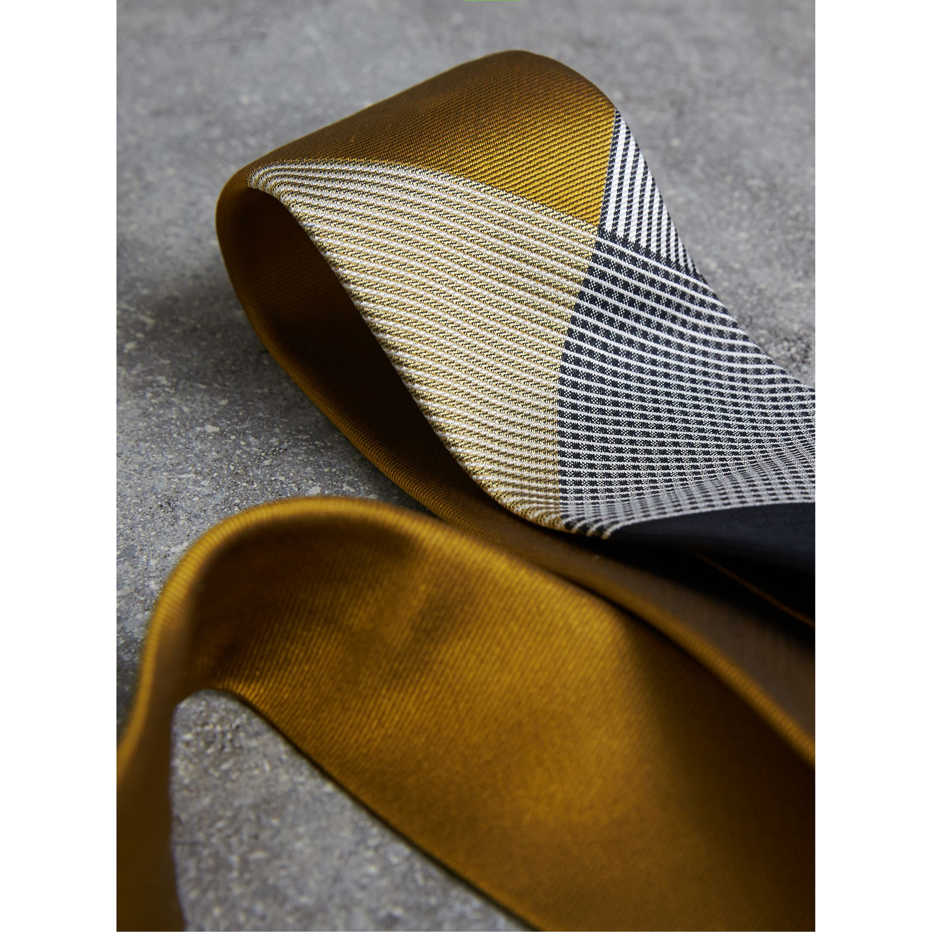 Modern Cut Check Silk Twill Jacquard Tie in Cornflower Yellow - Men | Burberry - gallery image 2