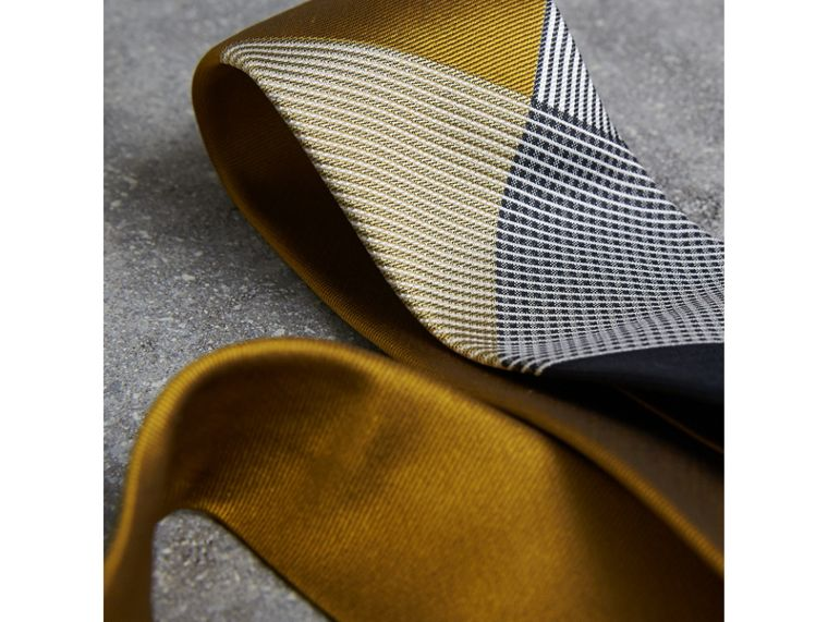 Modern Cut Check Silk Twill Jacquard Tie in Cornflower Yellow - Men | Burberry - cell image 1