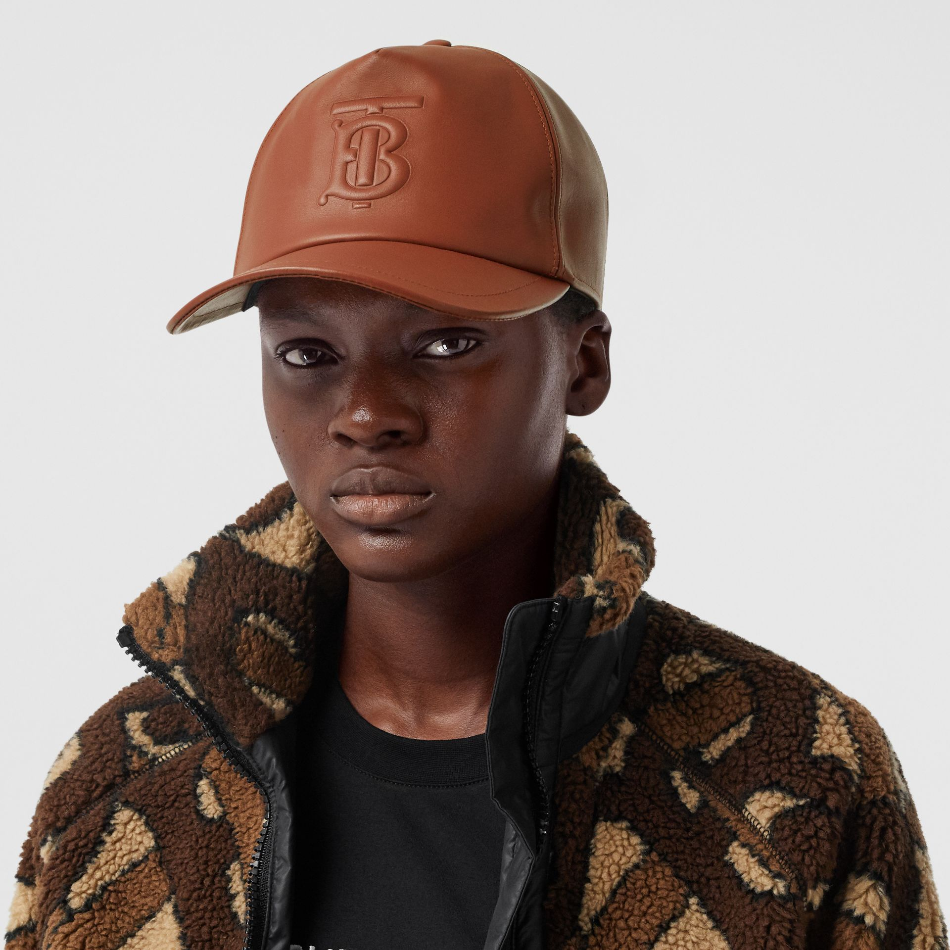 Monogram Motif Leather Baseball Cap in Tan | Burberry - gallery image 2
