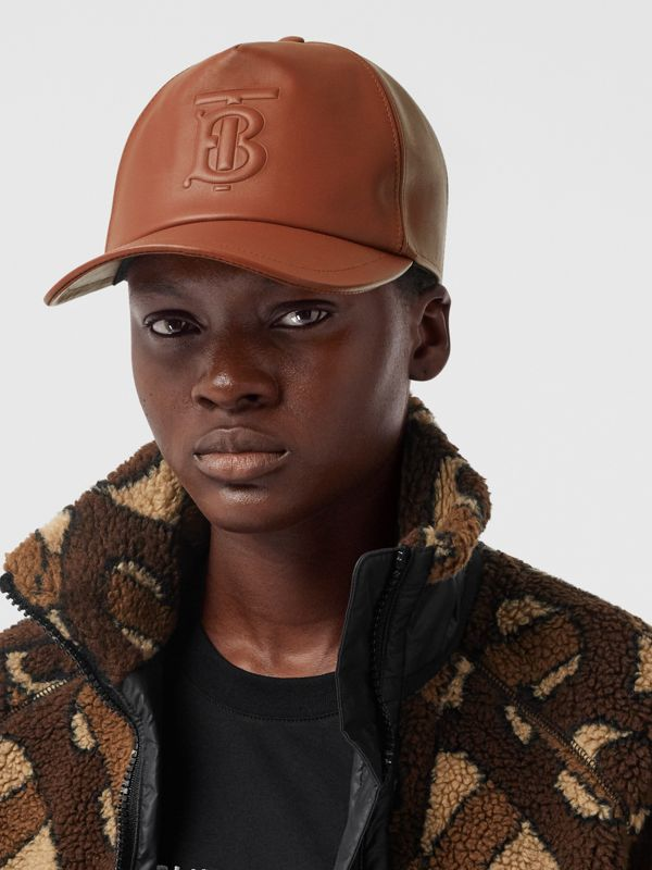 Monogram Motif Leather Baseball Cap in Tan | Burberry - cell image 2