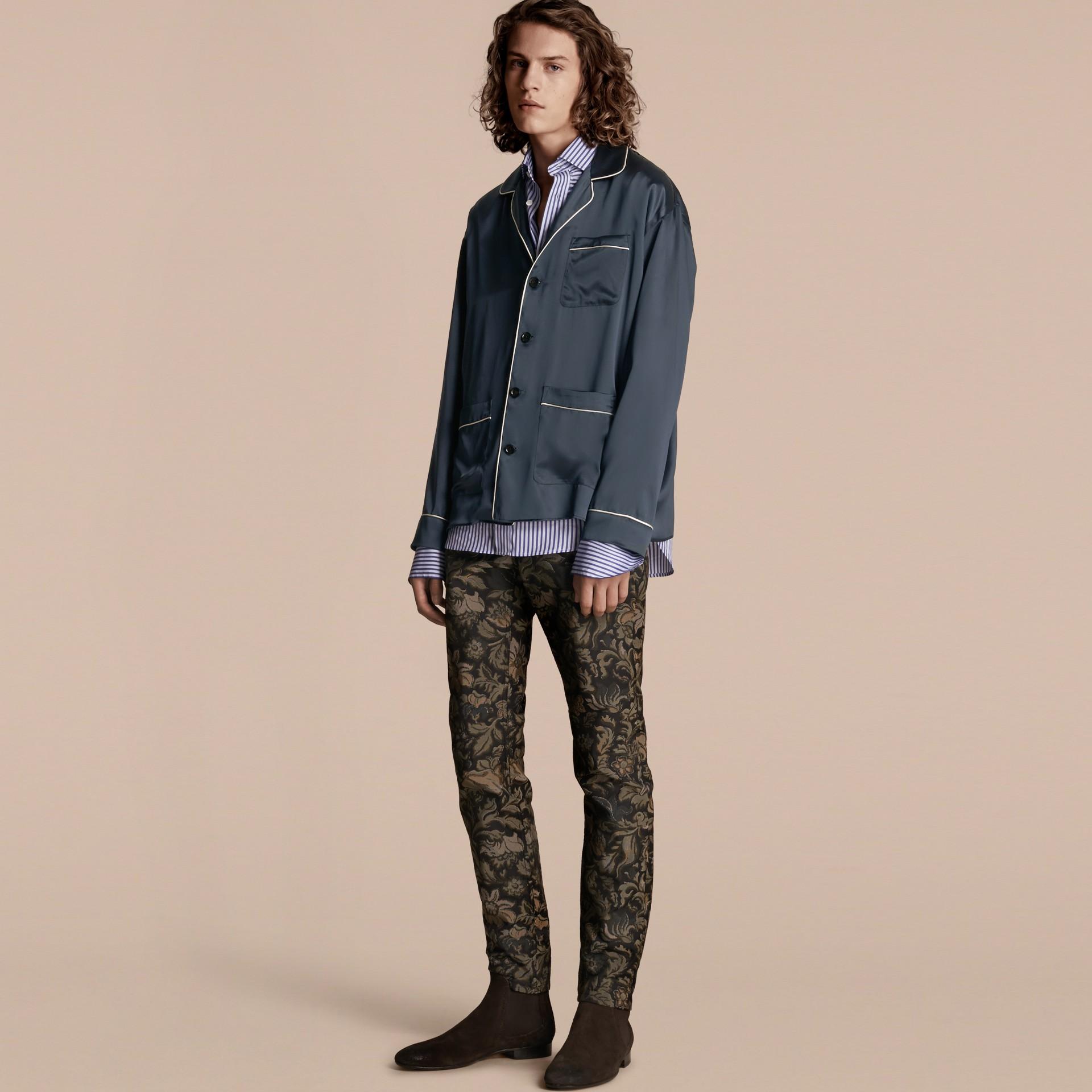 Navy Silk Pyjama-style Shirt - gallery image 6