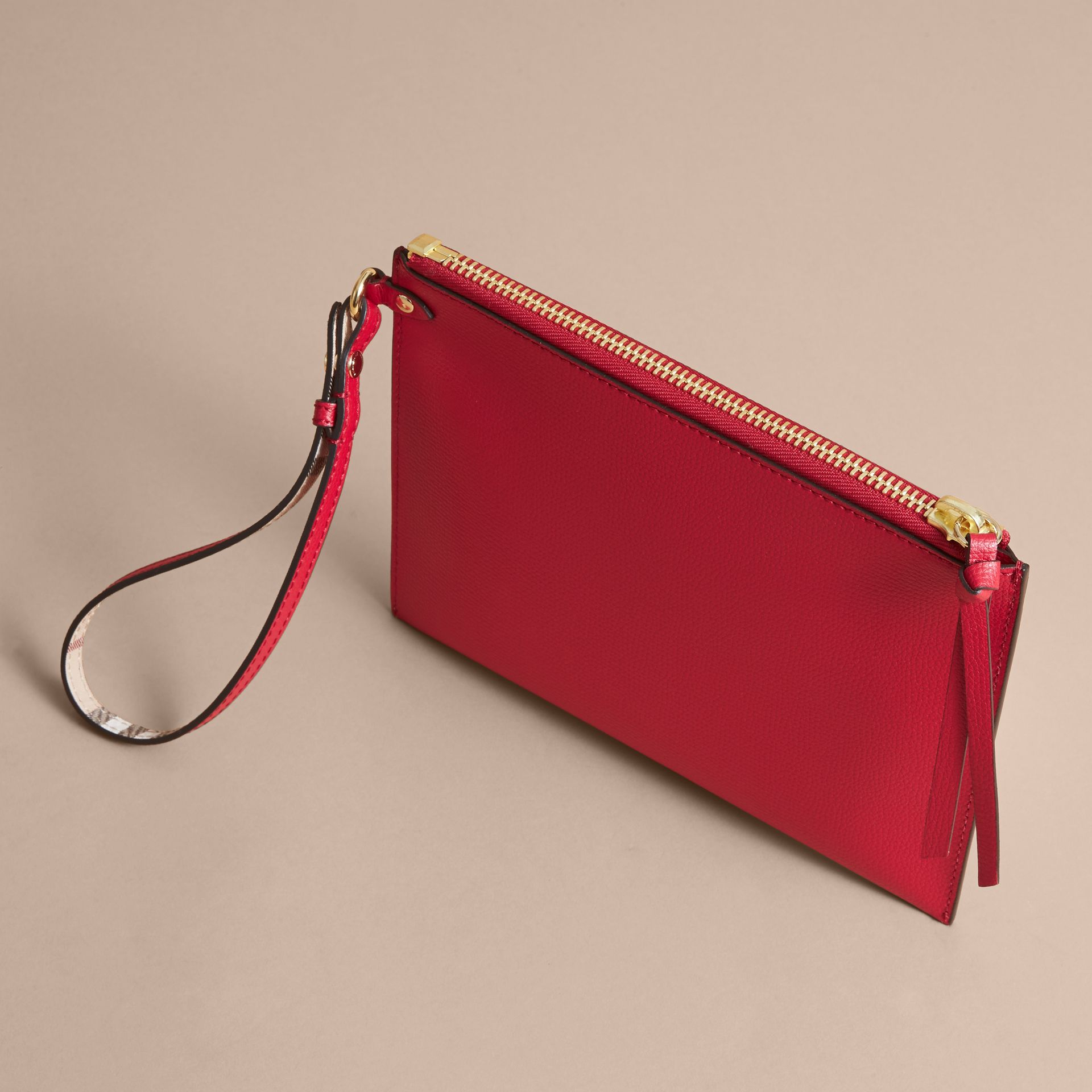 Haymarket Check and Leather Pouch in Poppy Red - Women | Burberry Canada - gallery image 4