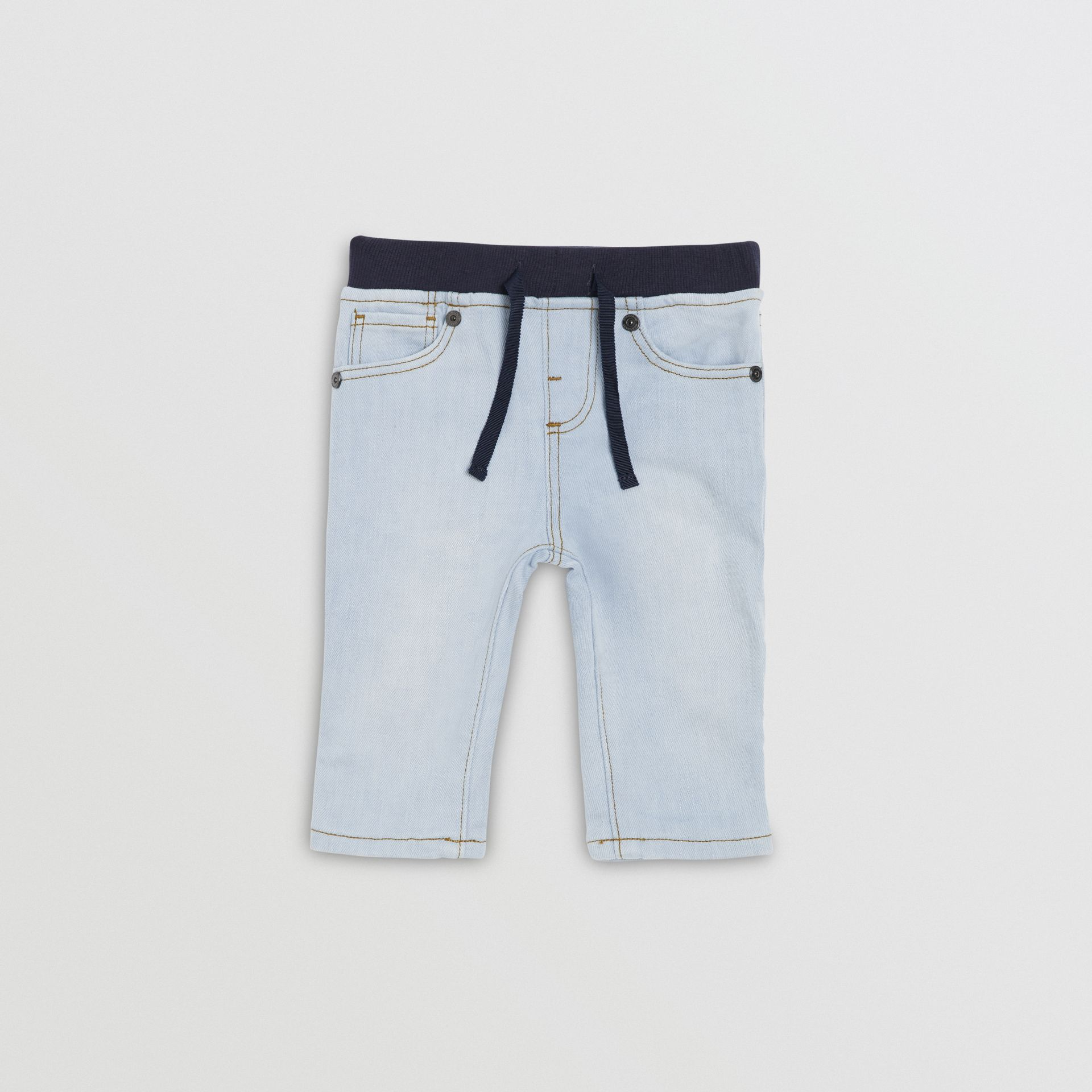 Relaxed Fit Pull-on Stretch Denim Jeans in Light Blue - Children | Burberry United Kingdom - gallery image 0