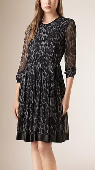 Lambskin Trim Animal Print Silk Dress