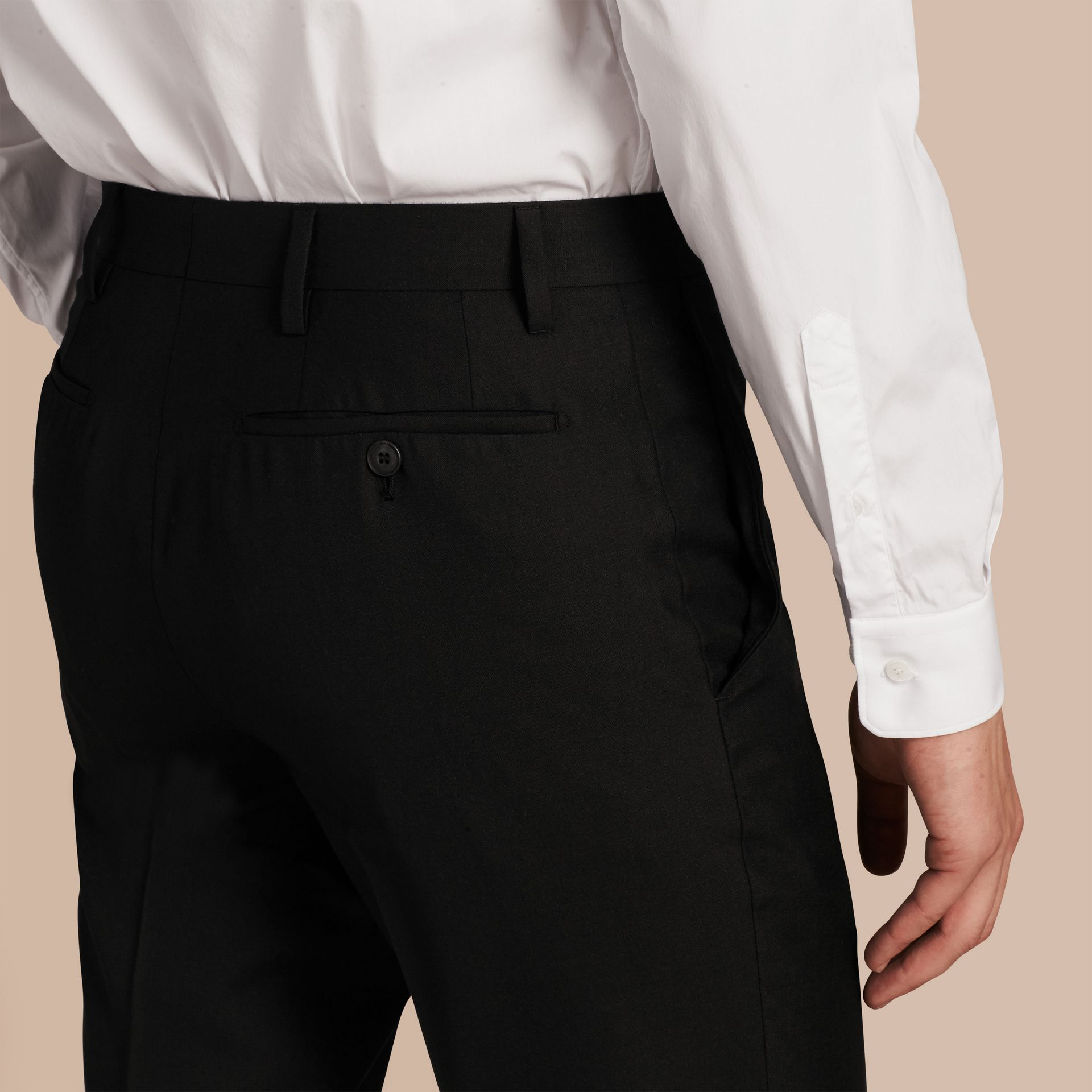 Black Slim Fit Wool Trousers Black - gallery image 5
