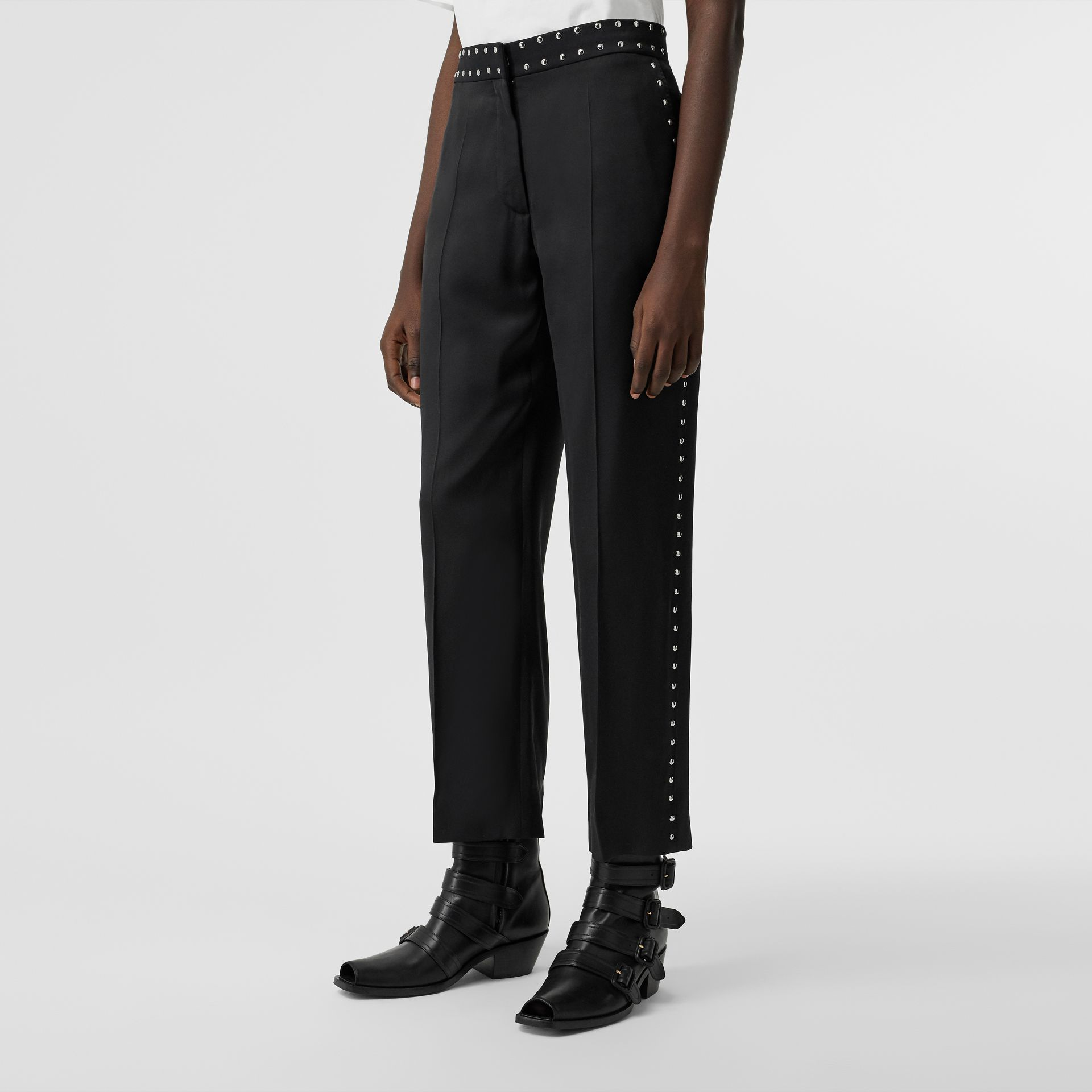 Studded Silk Satin Tailored Trousers in Black - Women | Burberry Australia - gallery image 4