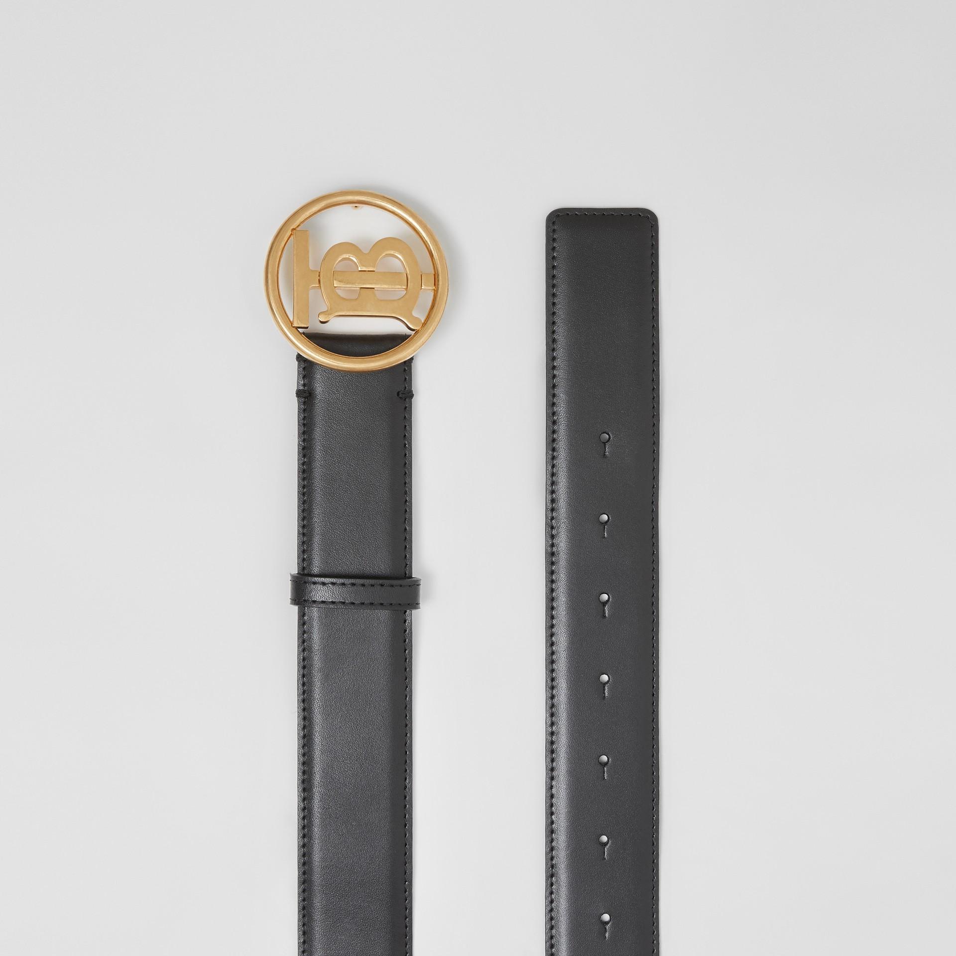 Monogram Motif Leather Belt in Black - Women | Burberry - gallery image 5