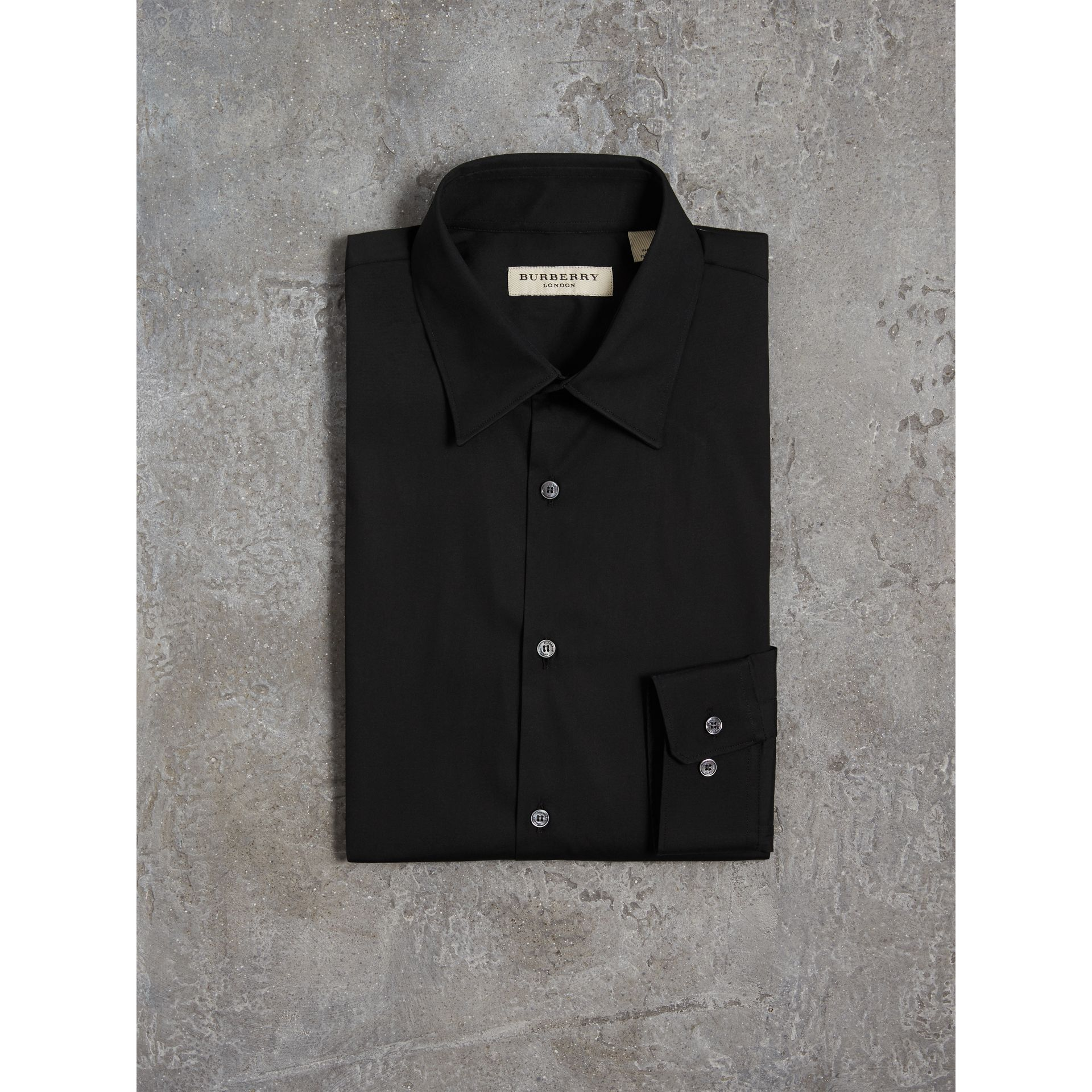 Slim Fit Stretch Cotton Shirt in Black - Men | Burberry - gallery image 3