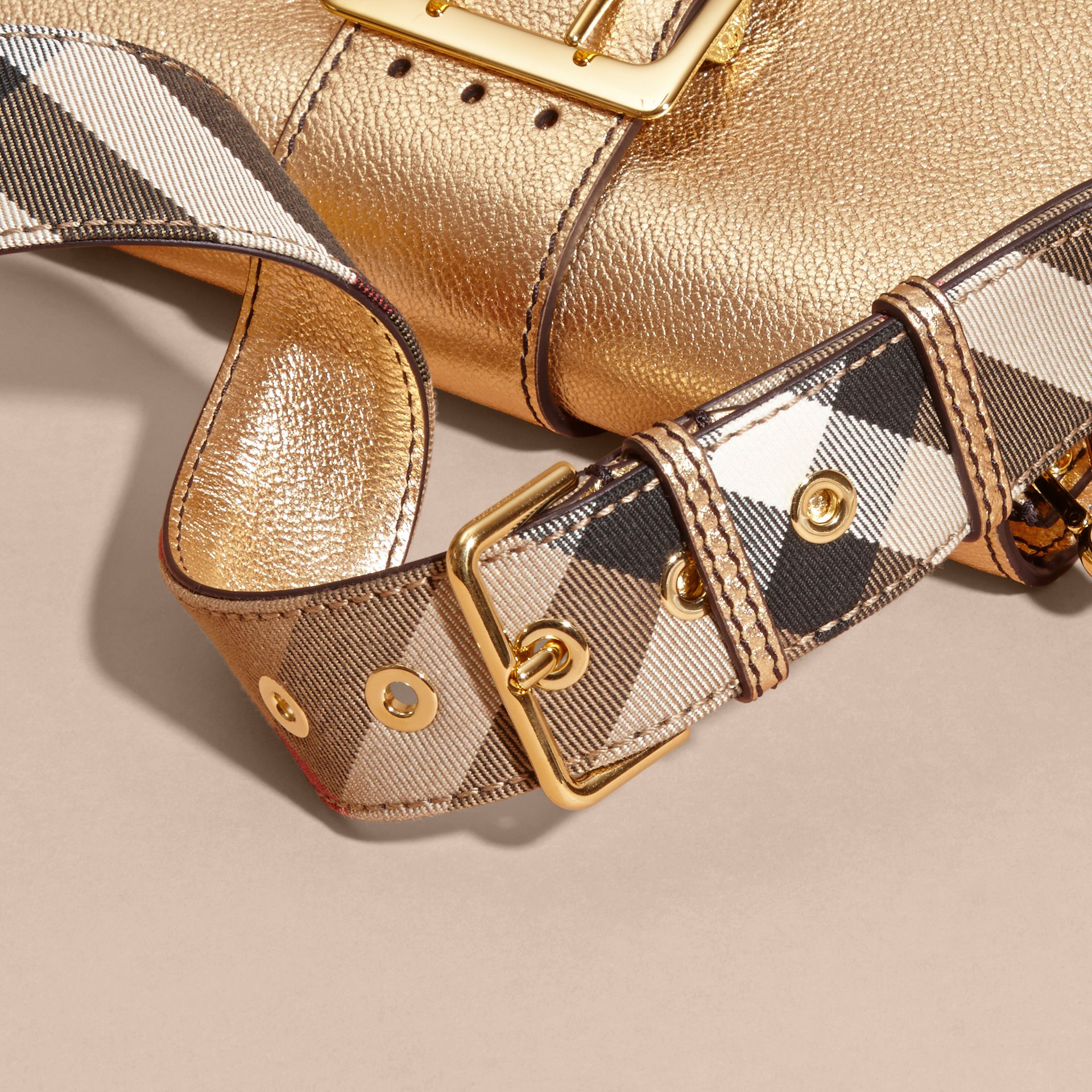 Gold The Medium Buckle Bag in Metallic Leather - gallery image 7
