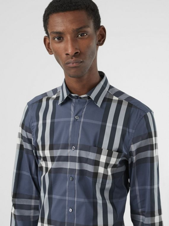 Check Stretch Cotton Shirt in Thistle Blue