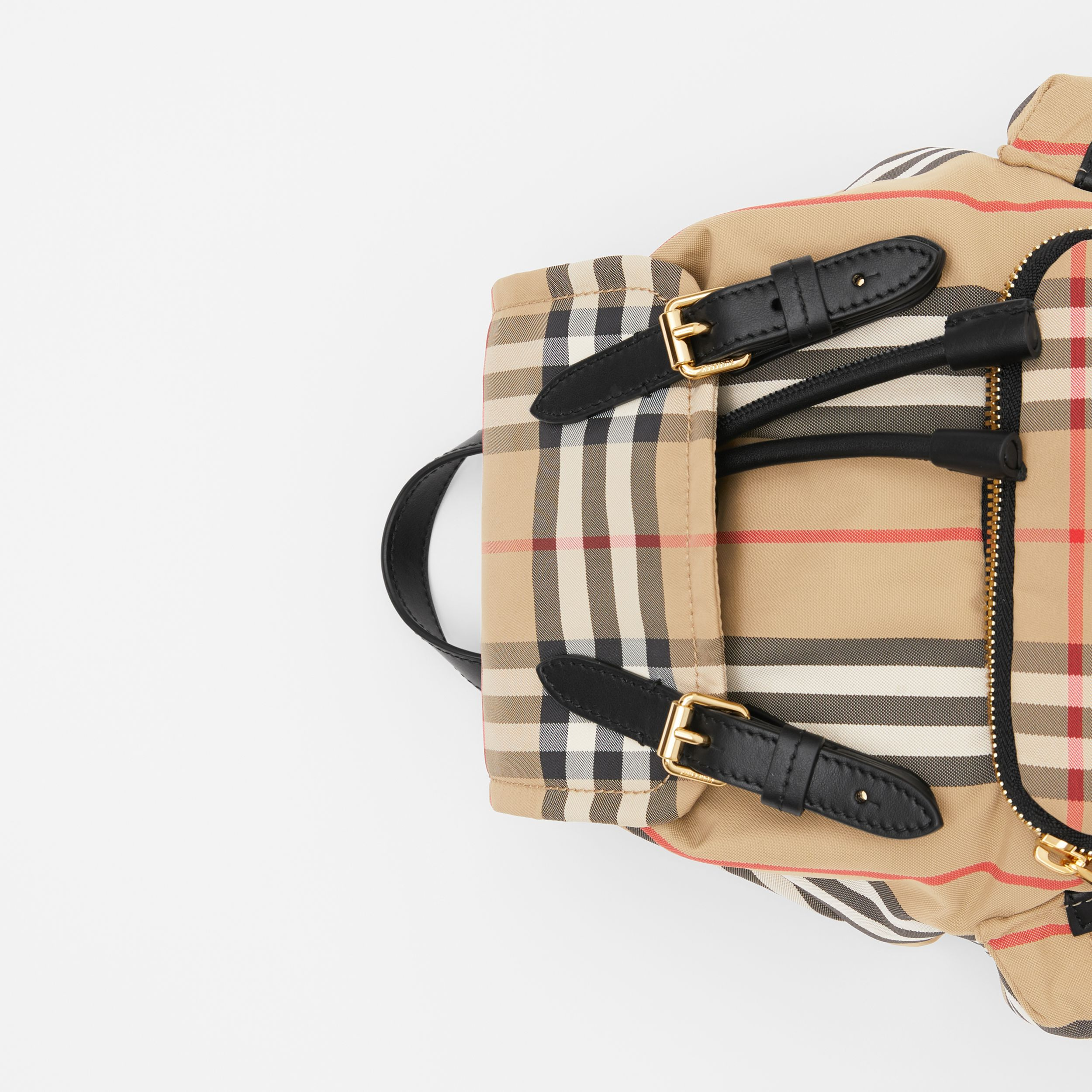 The Small Rucksack in Vintage Check and Icon Stripe in Archive Beige - Women | Burberry United Kingdom - 2