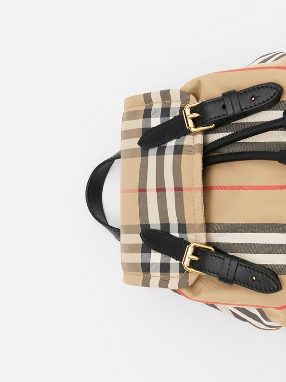 The Small Rucksack in Vintage Check and Icon Stripe in Archive Beige - Women | Burberry - cell image 1