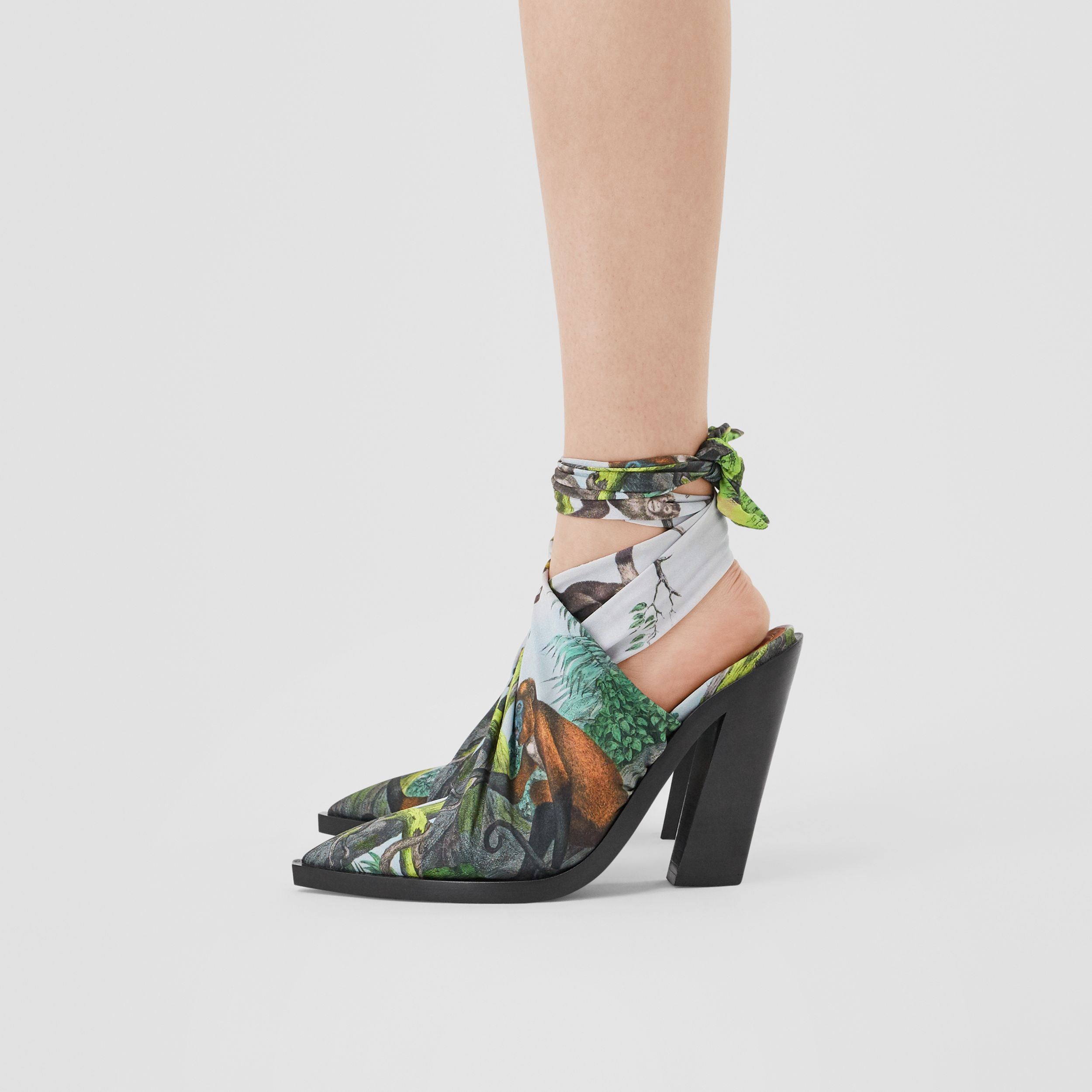 Scarf Tie Detail Monkey Print Point-toe Mules in Opal Green - Women | Burberry - 3