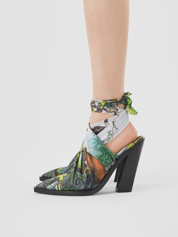 Scarf Tie Detail Monkey Print Point-toe Mules in Opal Green - Women | Burberry United Kingdom - cell image 2