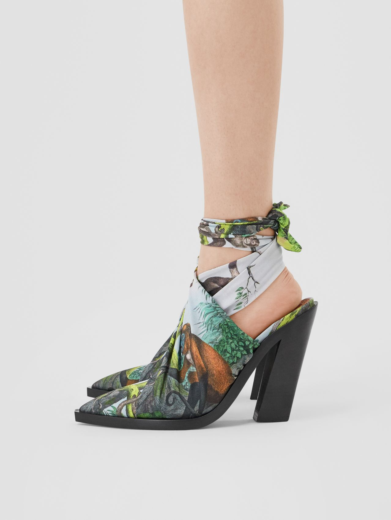 Scarf Tie Detail Monkey Print Point-toe Mules (Opal Green)