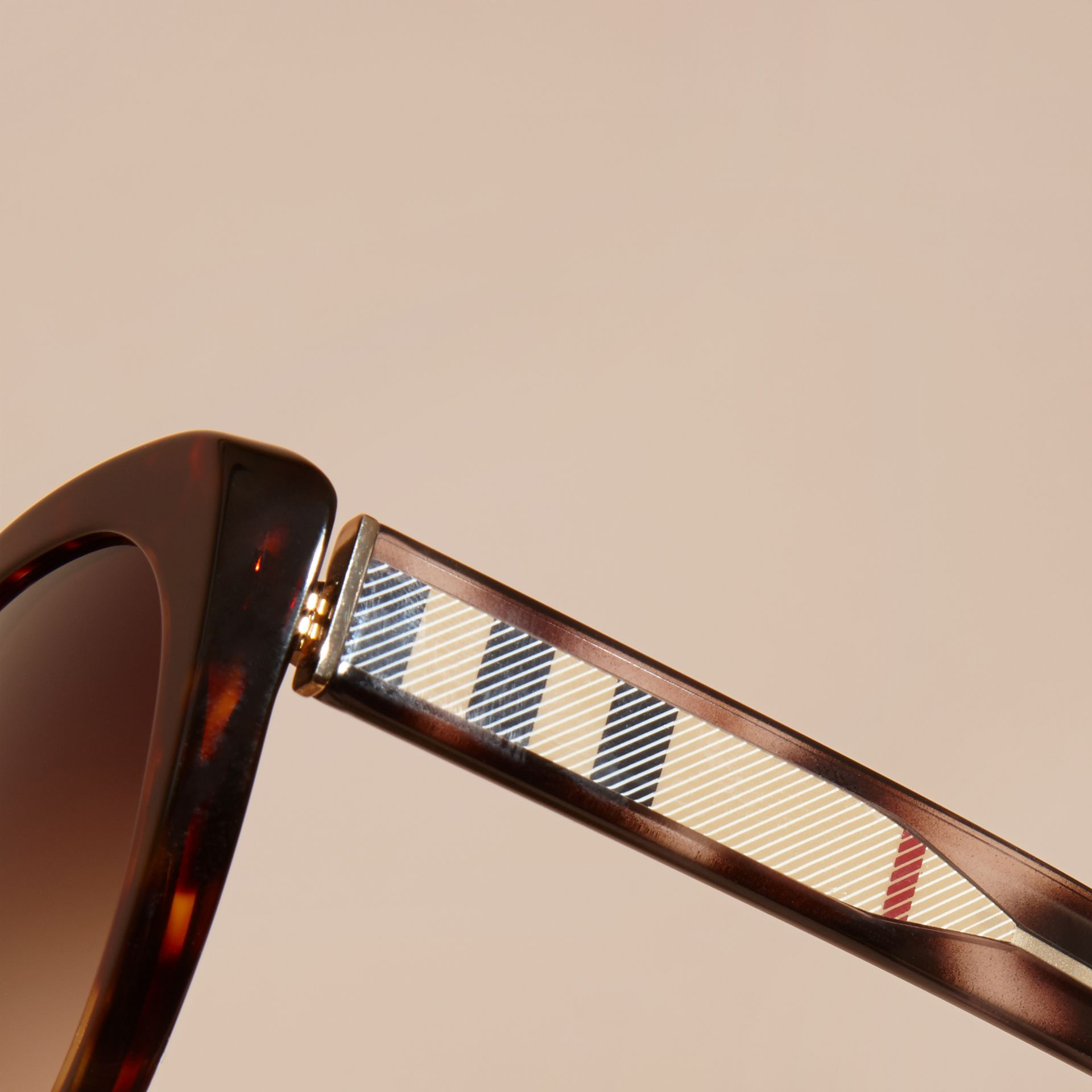 Check Detail Cat-eye Sunglasses in Light Russet Brown - Women | Burberry - gallery image 2
