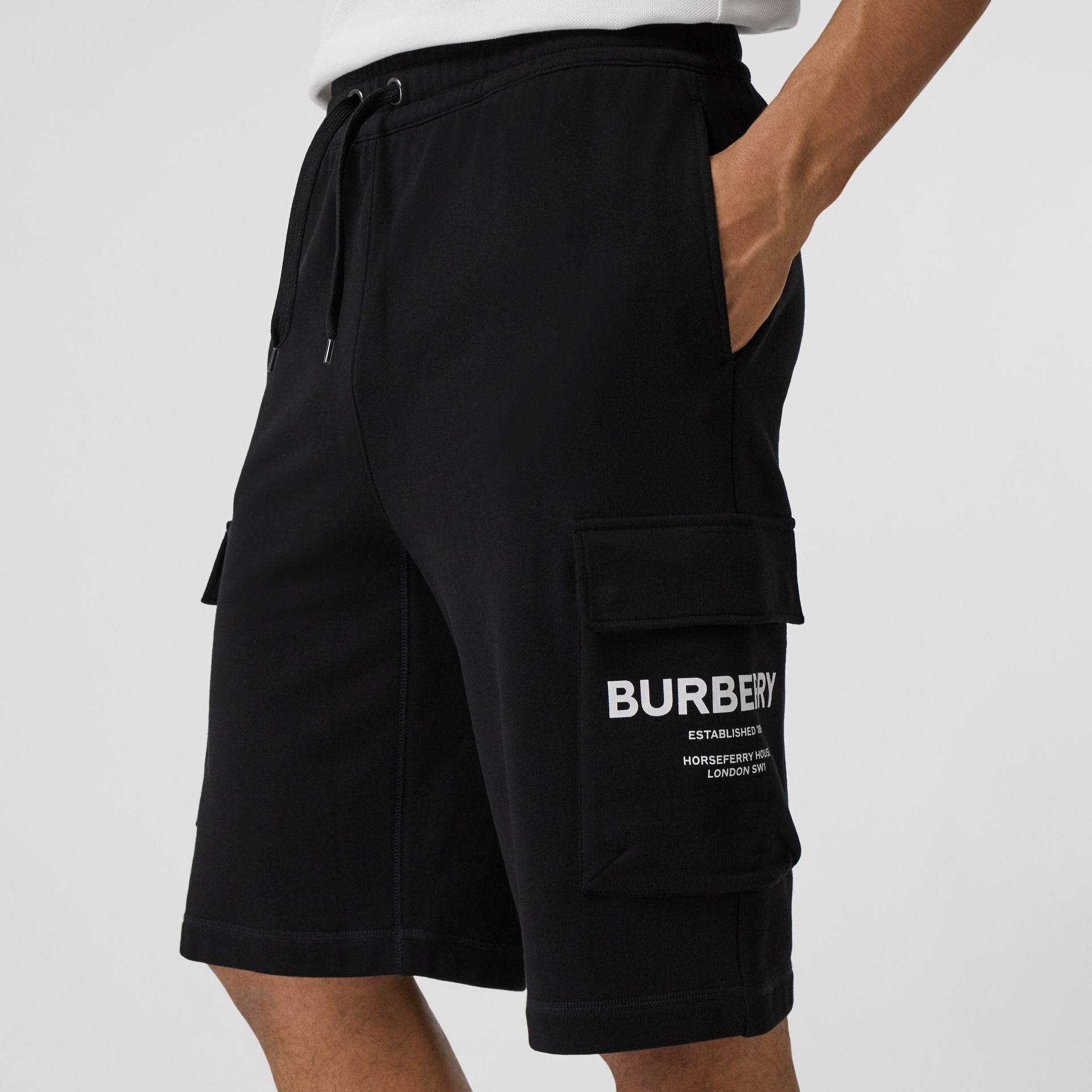 Horseferry Print Cotton Drawcord Shorts in Black - Men | Burberry - gallery image 1