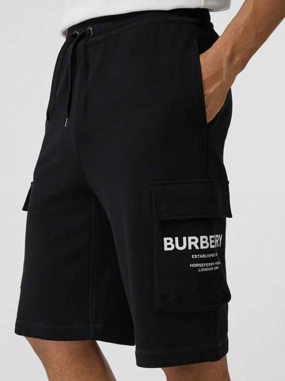 Horseferry Print Cotton Drawcord Shorts in Black - Men | Burberry Hong Kong - cell image 1