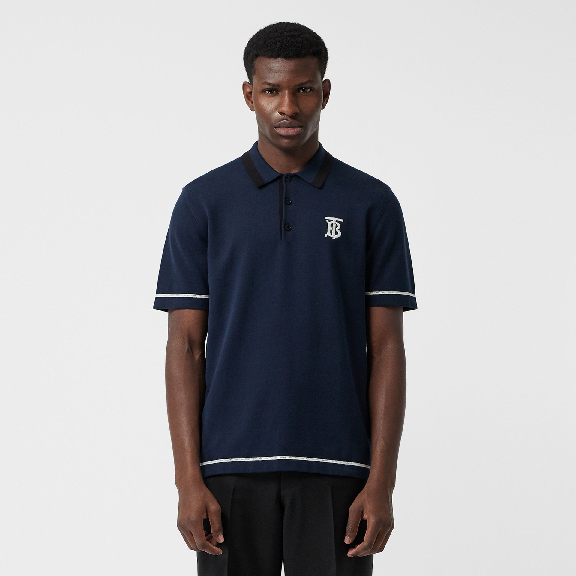 Monogram Motif Tipped Cotton Polo Shirt in Navy - Men | Burberry - gallery image 4