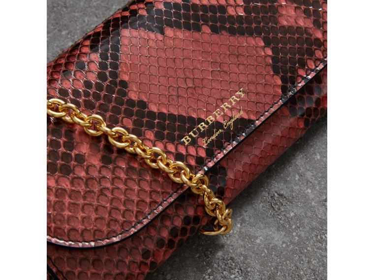 Python Wallet with Chain in Peony - Women | Burberry - cell image 1