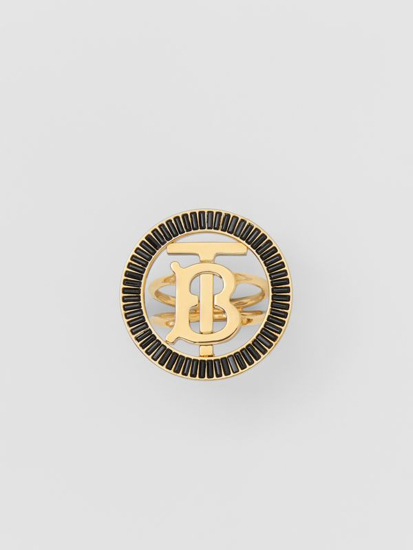 Crystal Detail Gold-plated Monogram Motif Ring in Jet Black - Women | Burberry - cell image 3