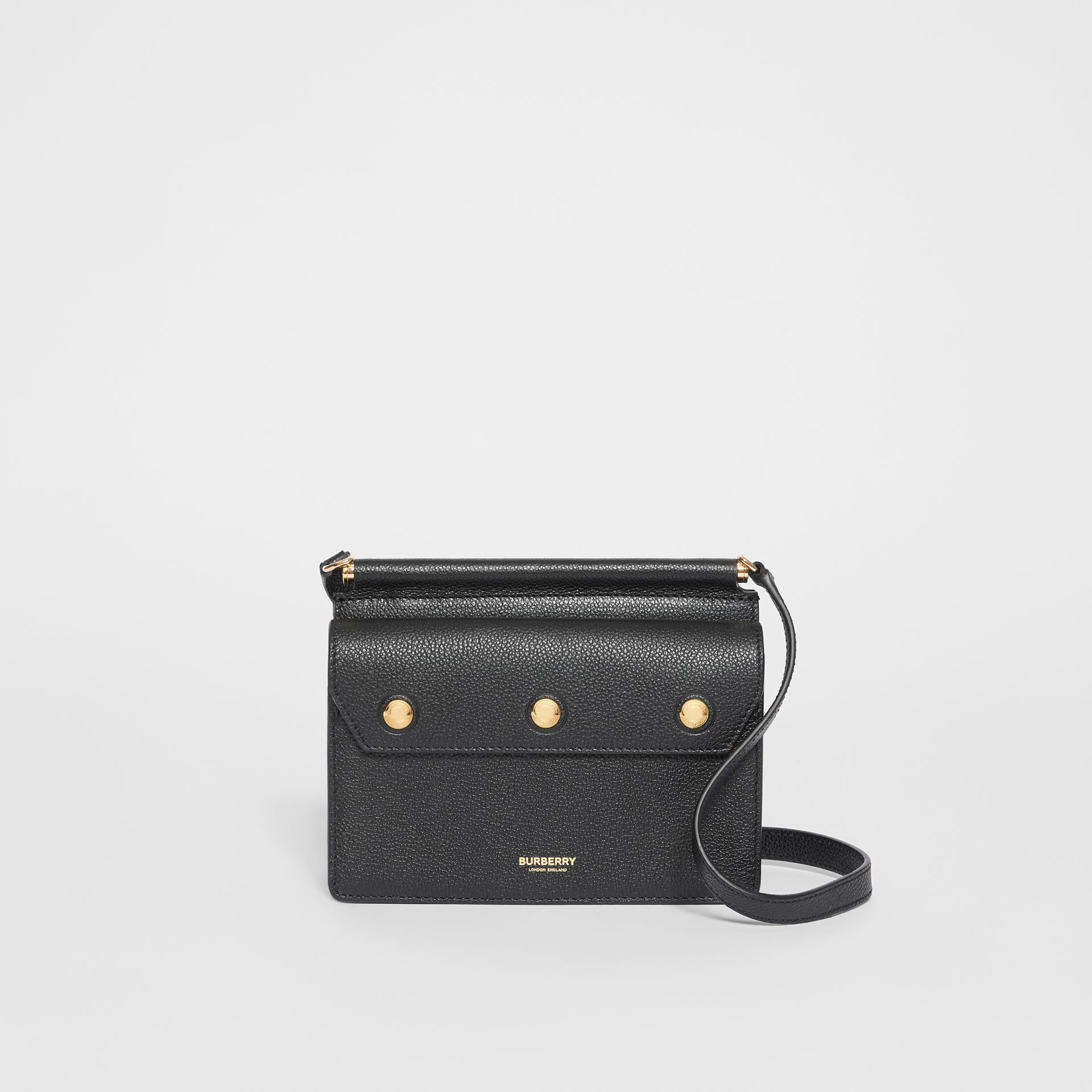 Mini Leather Title Bag with Pocket Detail in Black - Women | Burberry - gallery image 0