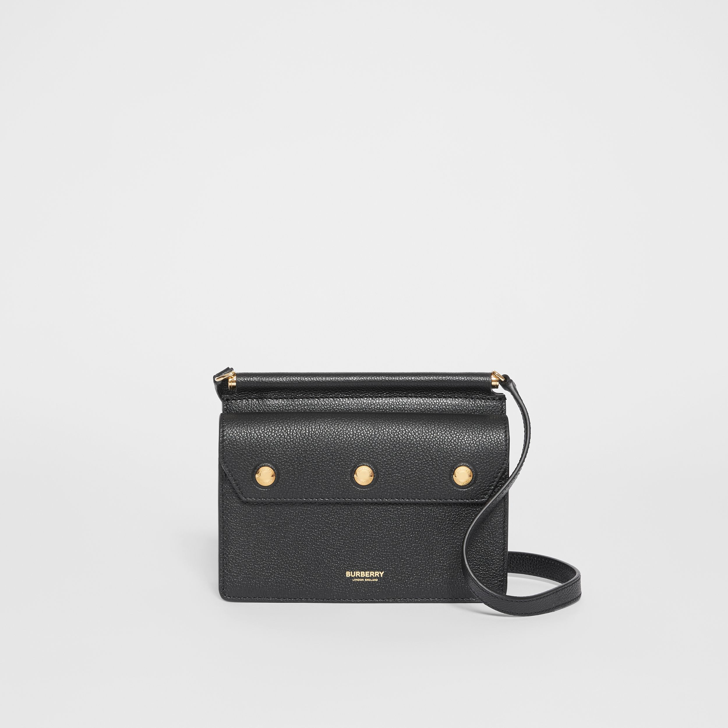 Mini Leather Title Bag with Pocket Detail in Black - Women | Burberry - 1