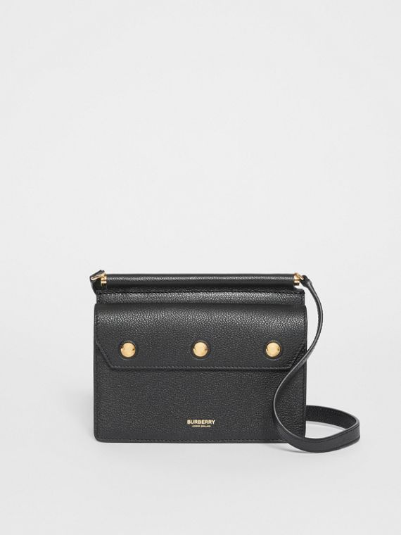 Mini Leather Title Bag with Pocket Detail in Black
