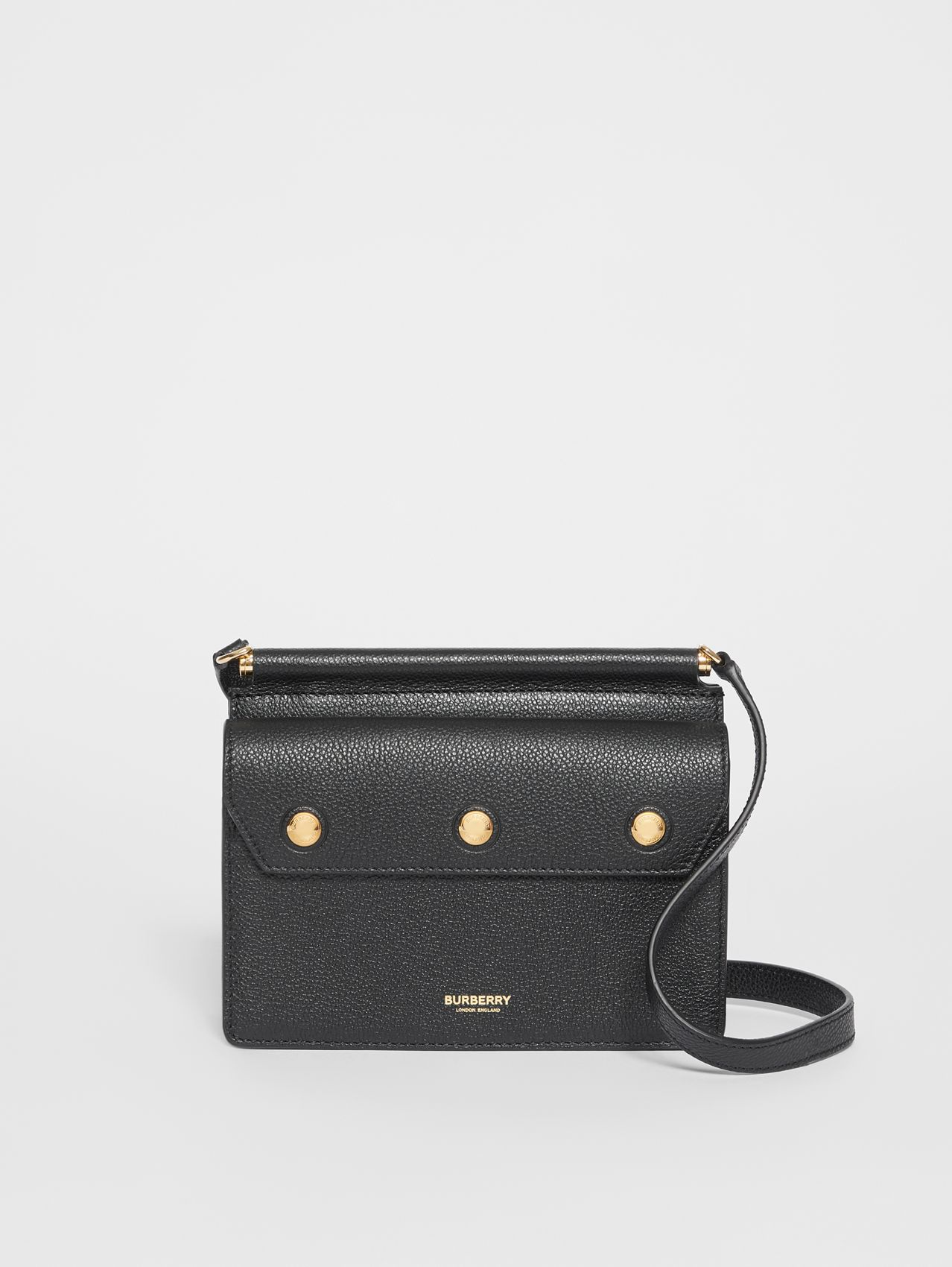 Mini Leather Title Bag with Pocket Detail (Black)