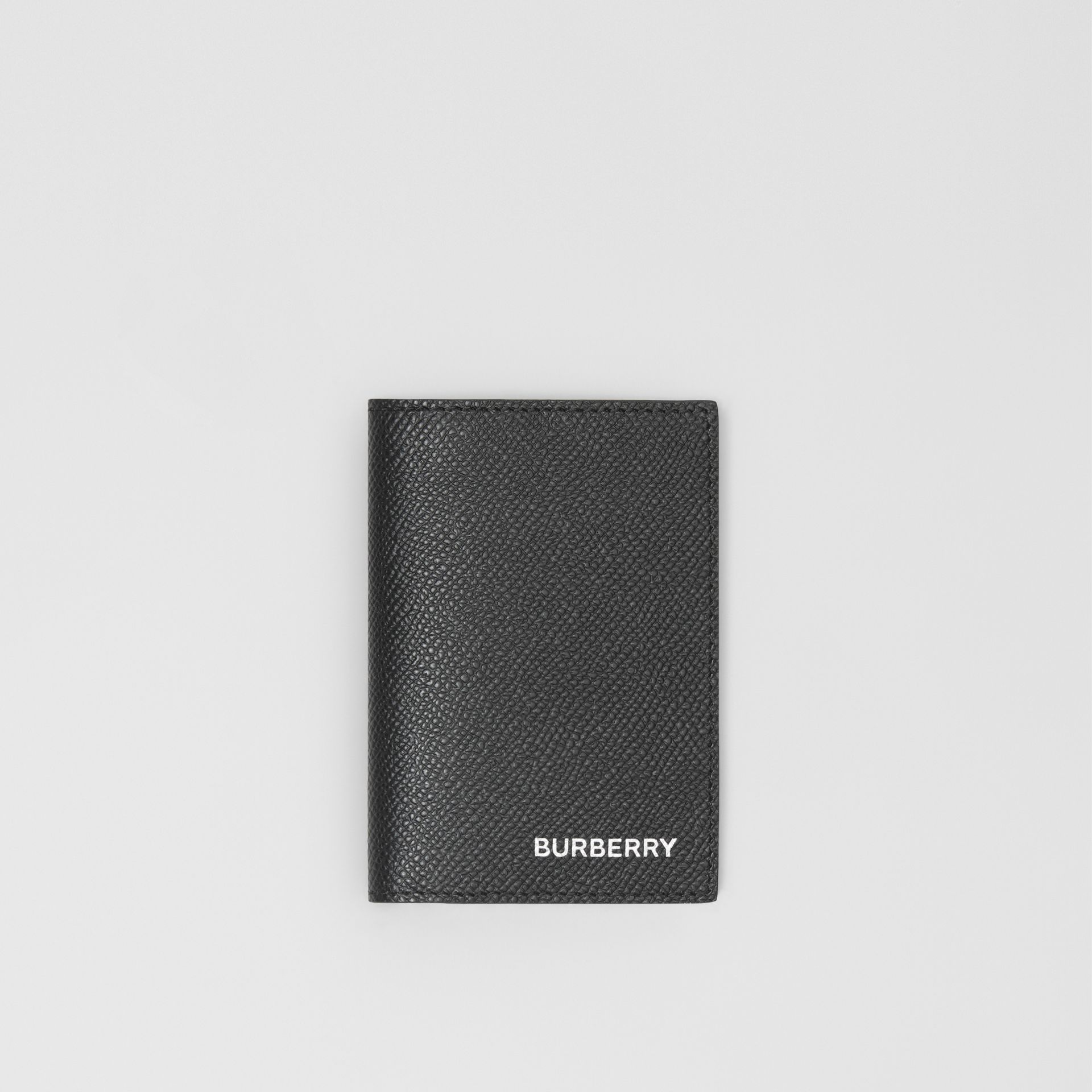 Grainy Leather Bifold Card Case in Black - Men | Burberry - gallery image 0