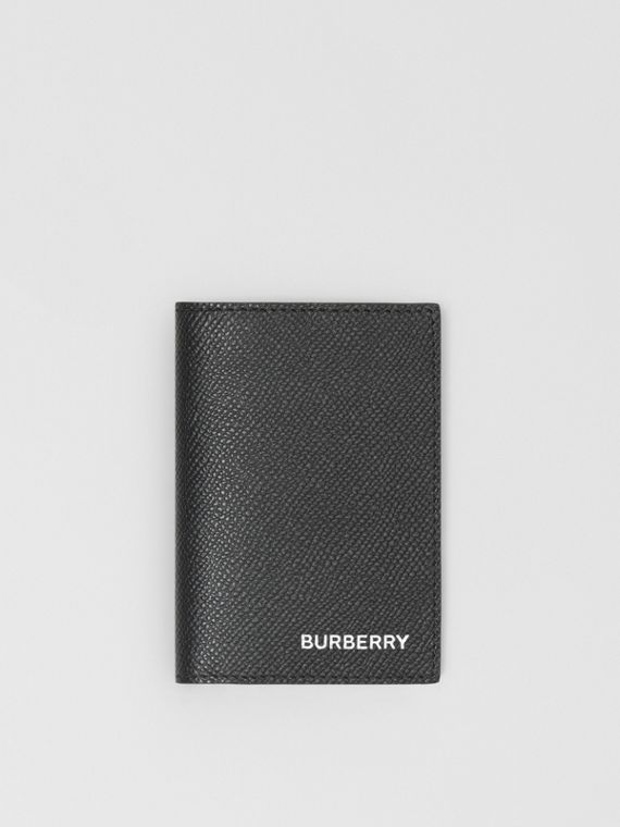Grainy Leather Bifold Card Case in Black