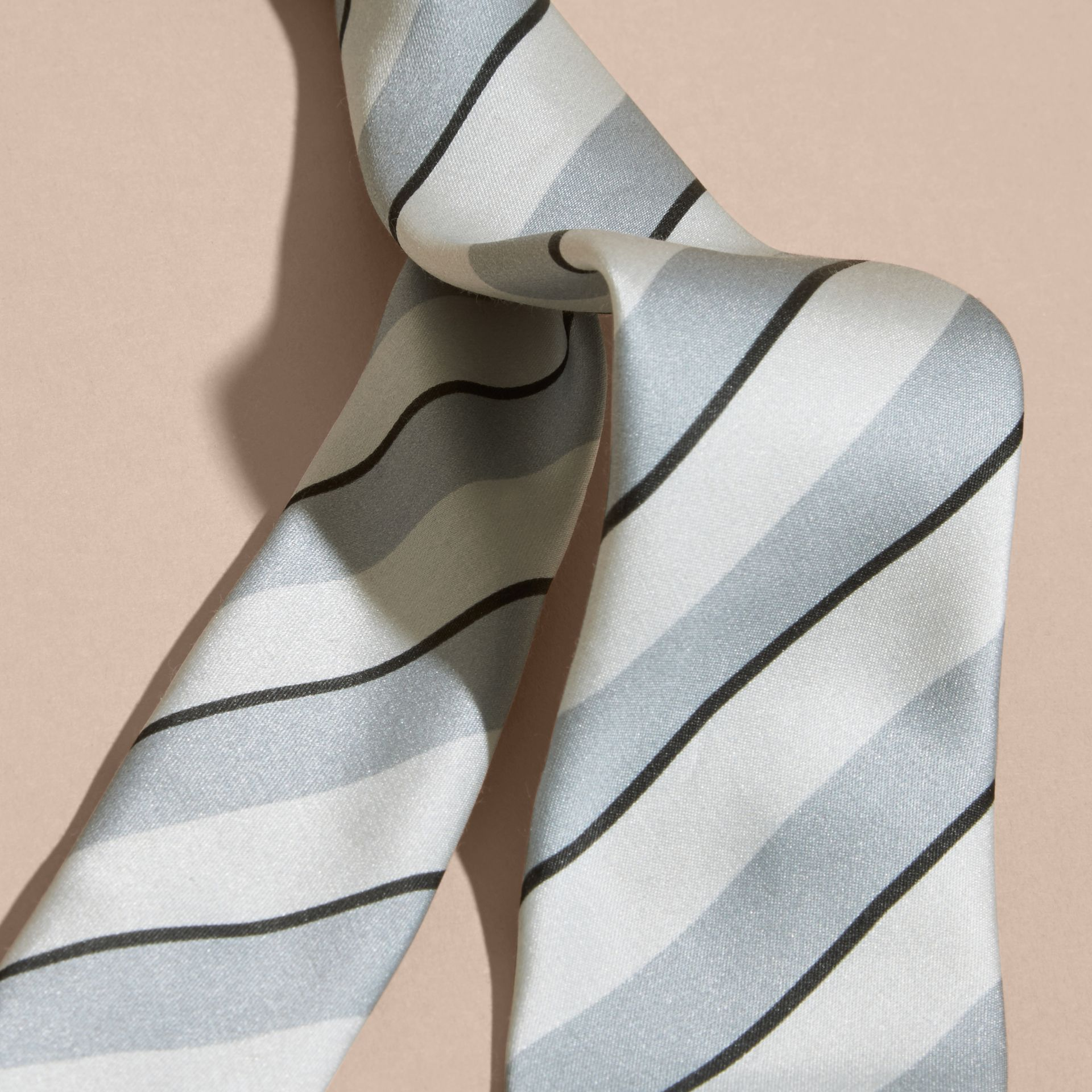 Light blue Slim Cut Striped Silk Cotton Tie Light Blue - gallery image 2