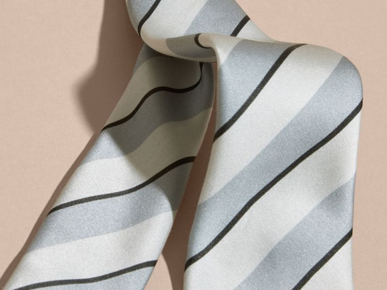 Light blue Slim Cut Striped Silk Cotton Tie Light Blue - cell image 1