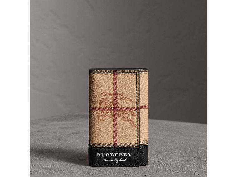Haymarket Check and Leather Key Holder in Black - Men | Burberry - cell image 4