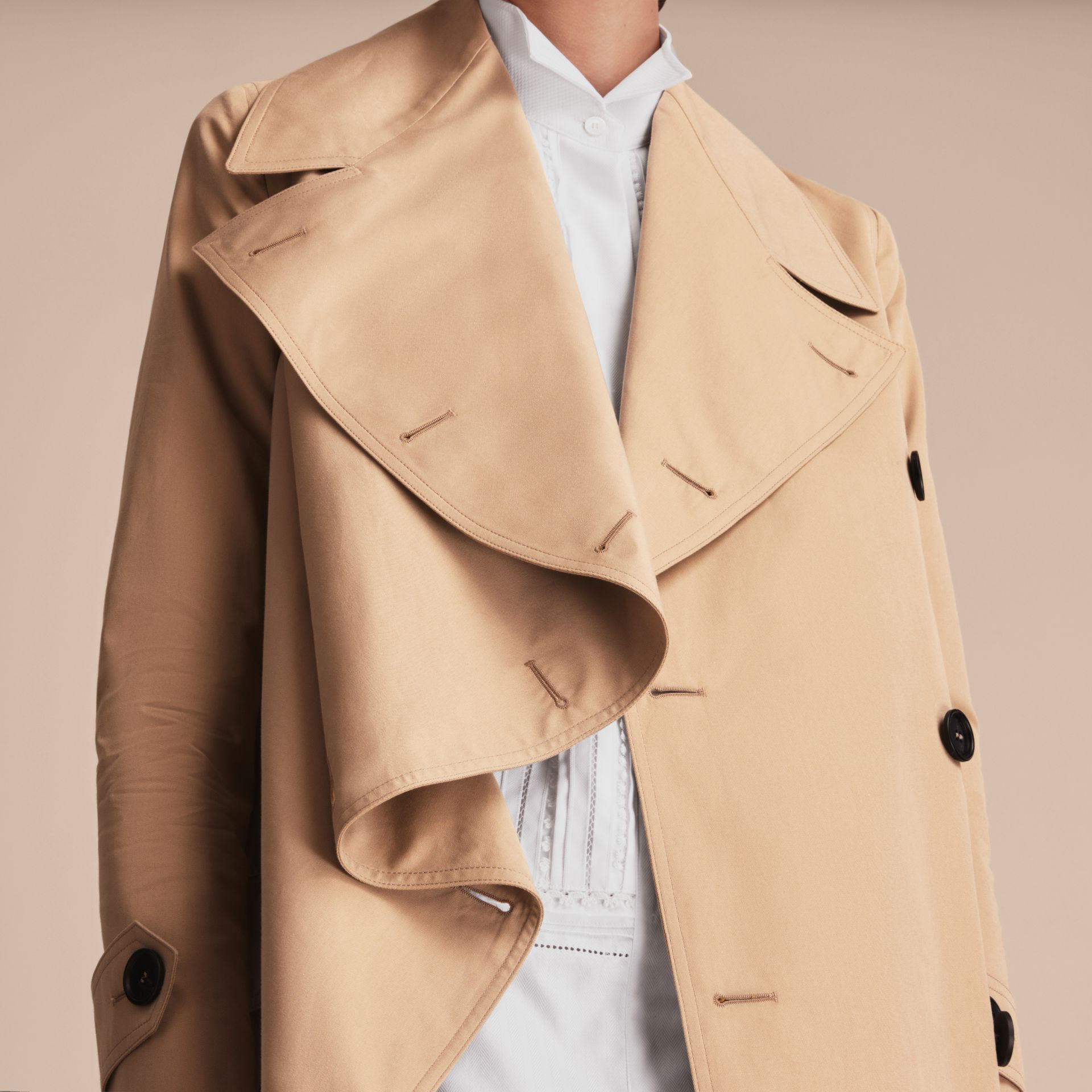 Curved Closure Cotton Gabardine Coat in Honey - Women | Burberry - gallery image 4