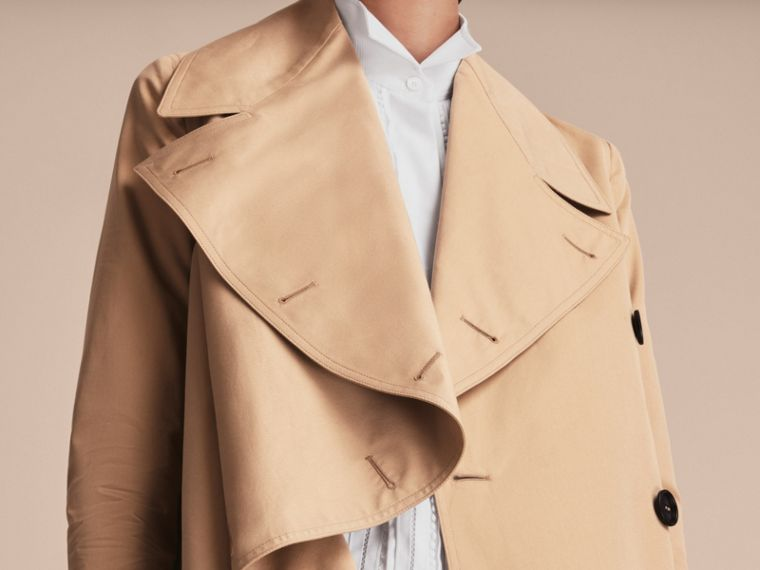 Curved Closure Cotton Gabardine Coat in Honey - Women | Burberry - cell image 4