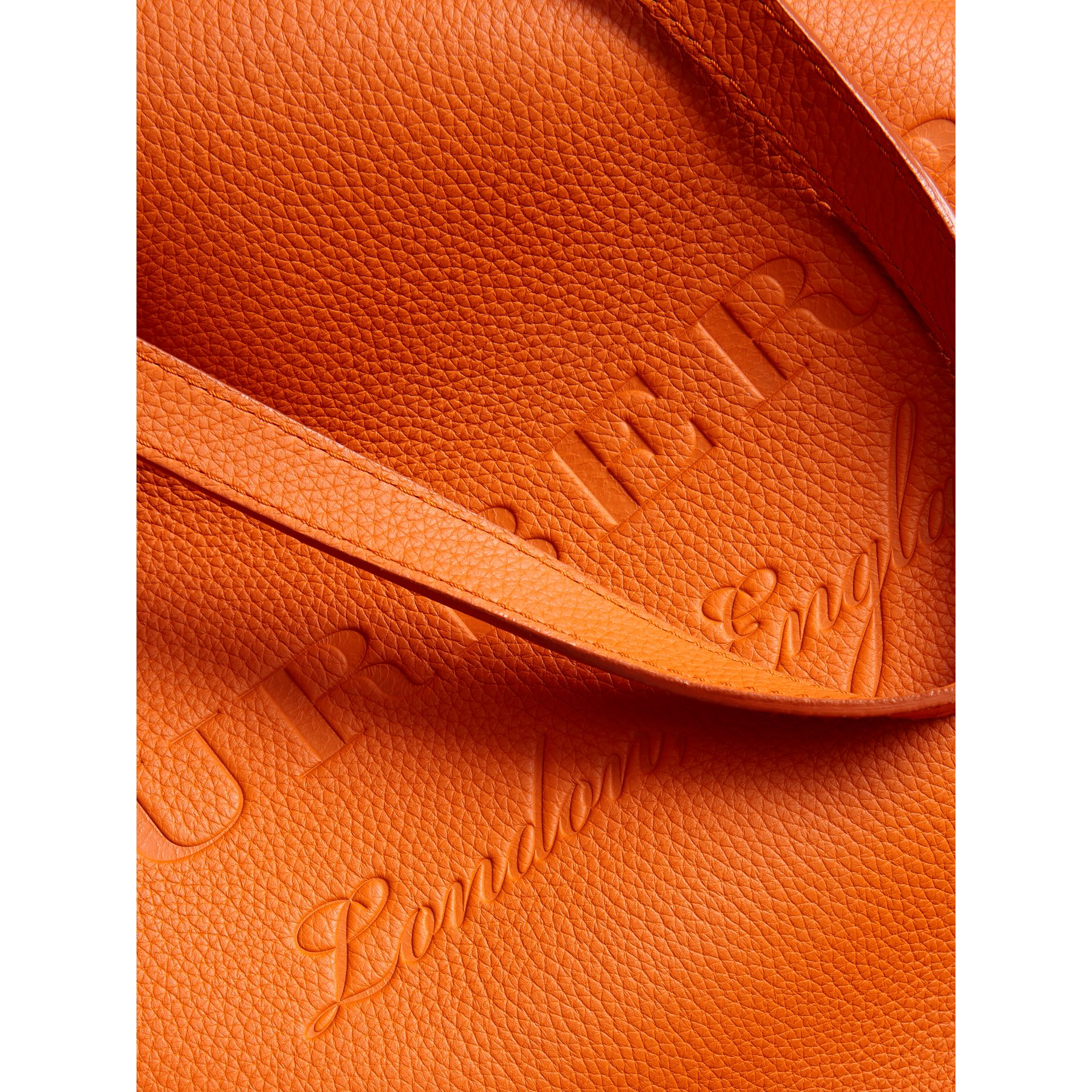 Embossed Leather Tote in Dark Clementine | Burberry - gallery image 1