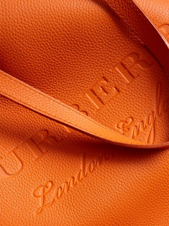 Embossed Leather Tote in Dark Clementine | Burberry - cell image 1