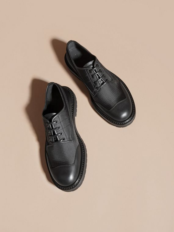 Black Textured Check Leather Trim Derby Shoes Black - cell image 2