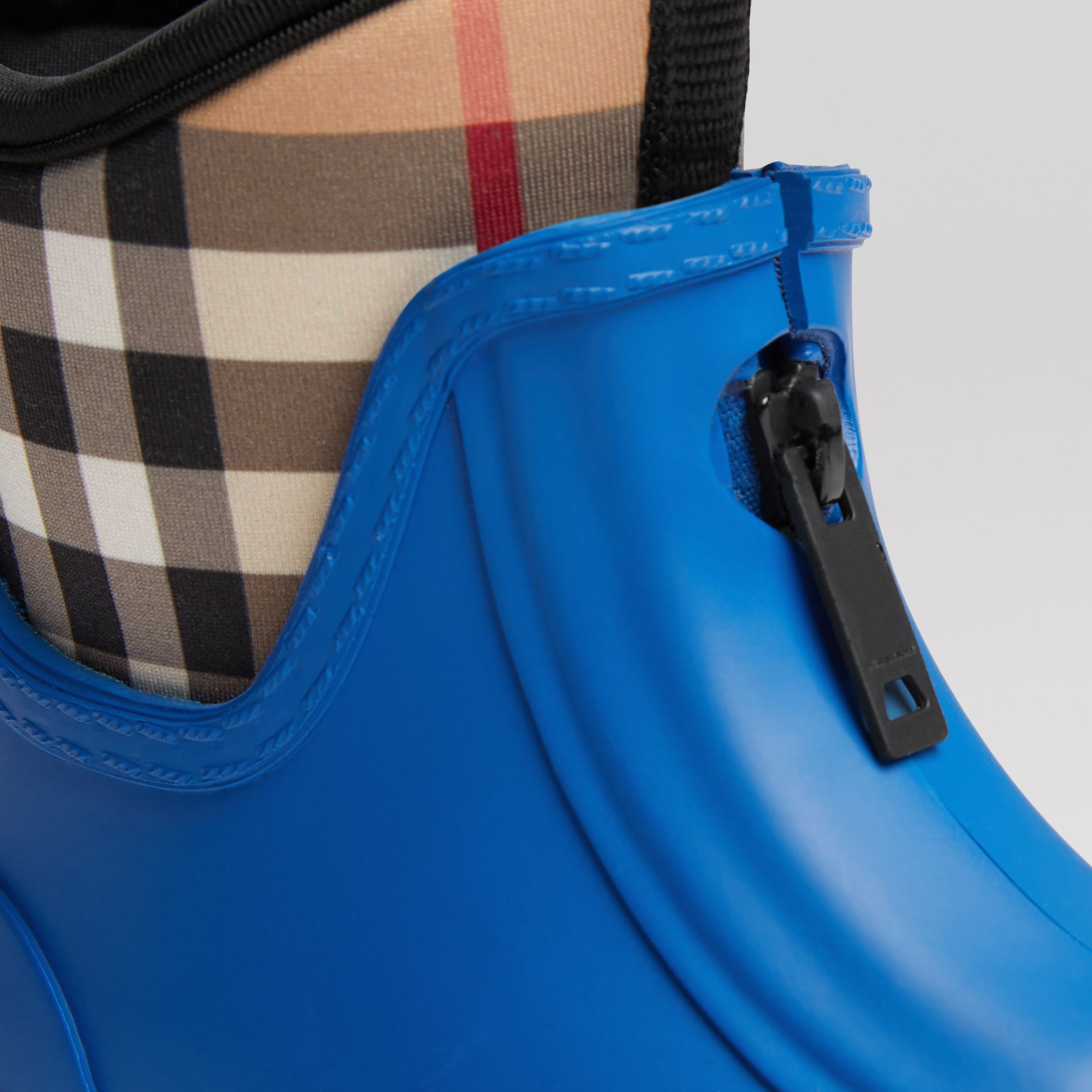 Vintage Check Neoprene and Rubber Rain Boots in Bright Canvas Blue | Burberry - gallery image 1