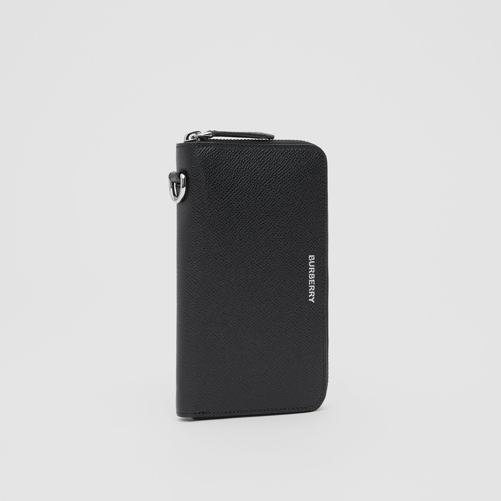 Grainy Leather Phone Wallet in Black - Men | Burberry United Kingdom - gallery image 3