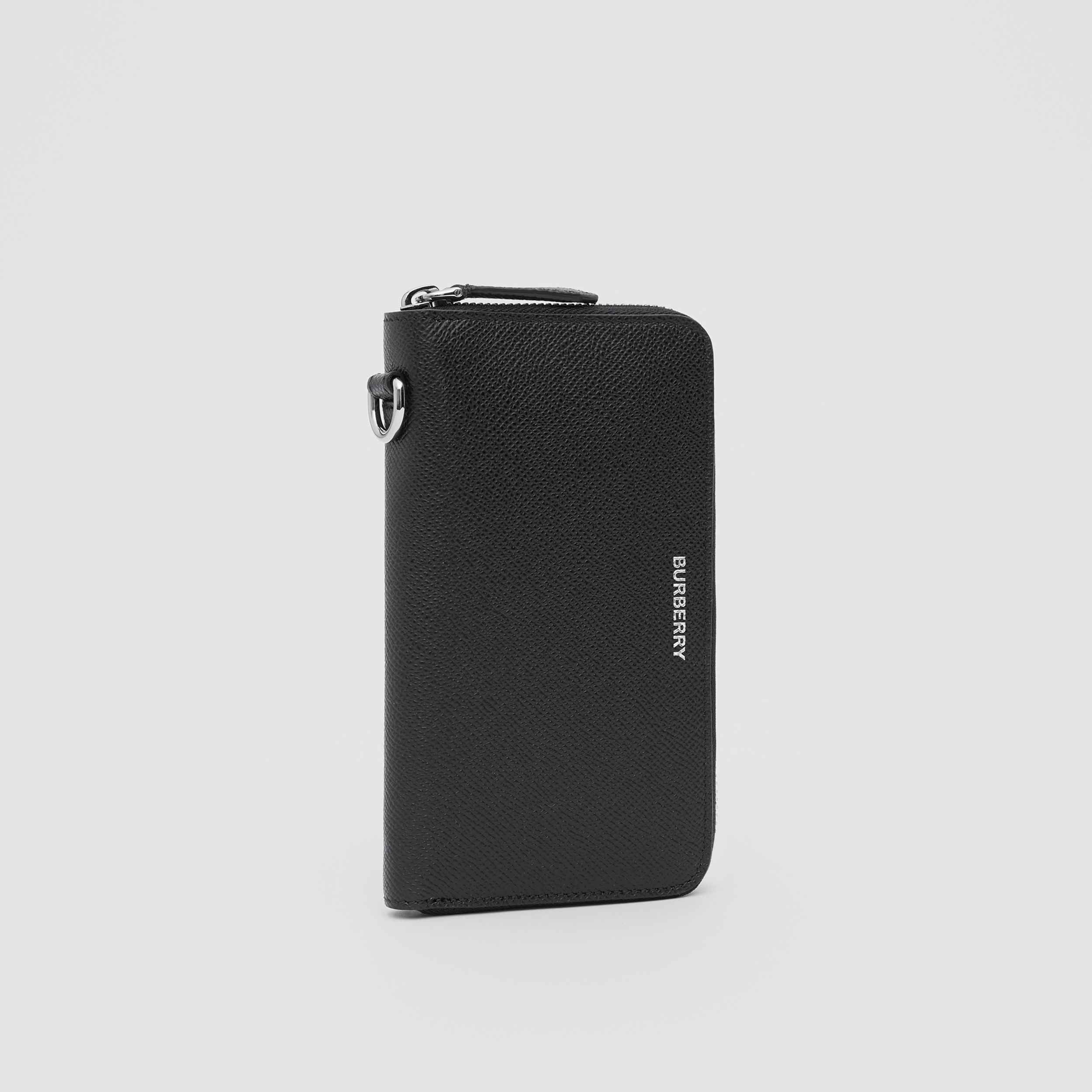 Grainy Leather Phone Wallet in Black - Men | Burberry United Kingdom - 4