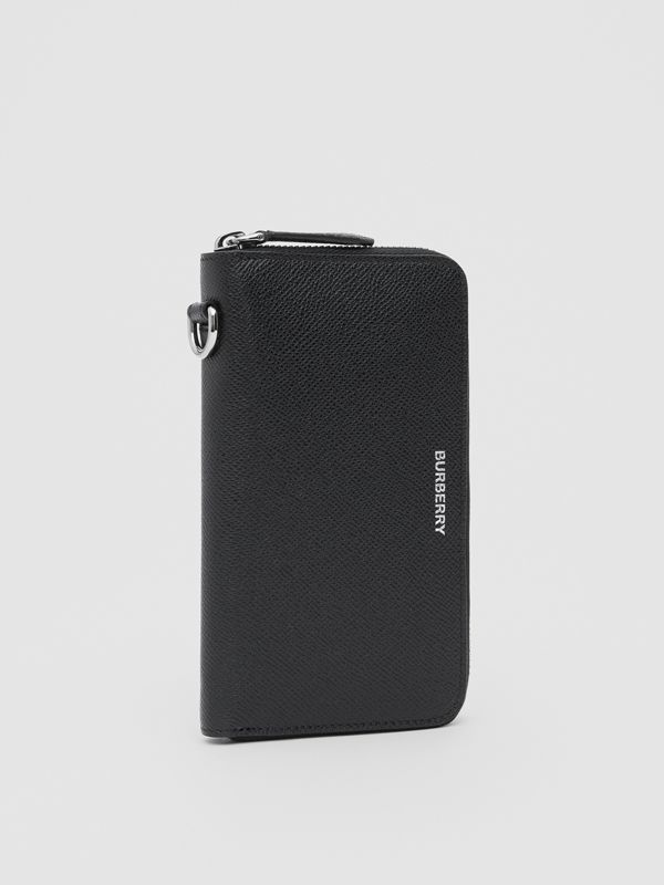 Grainy Leather Phone Wallet in Black - Men | Burberry United Kingdom - cell image 3