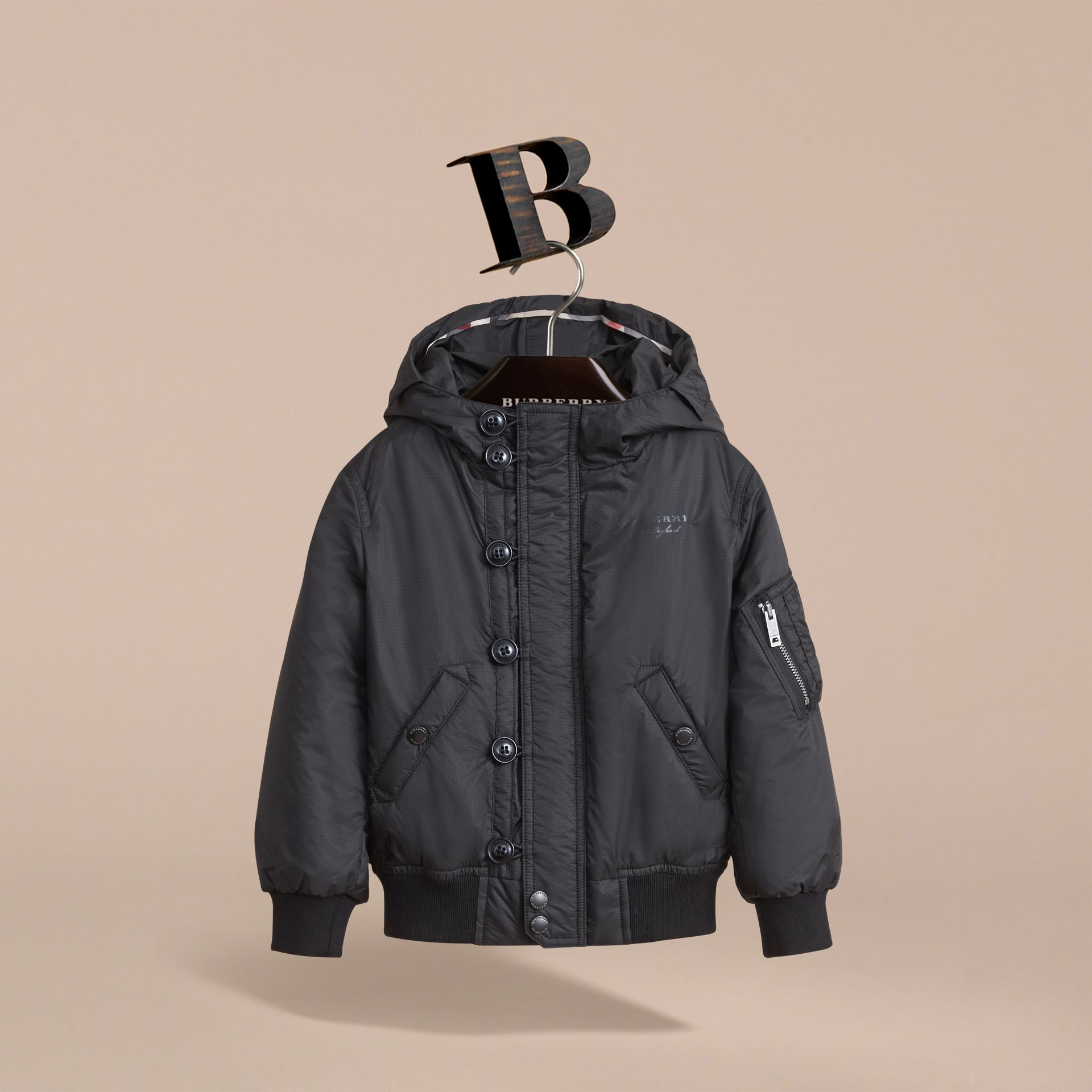 Hooded Lightweight Bomber Jacket in Black - Boy | Burberry Australia - gallery image 3