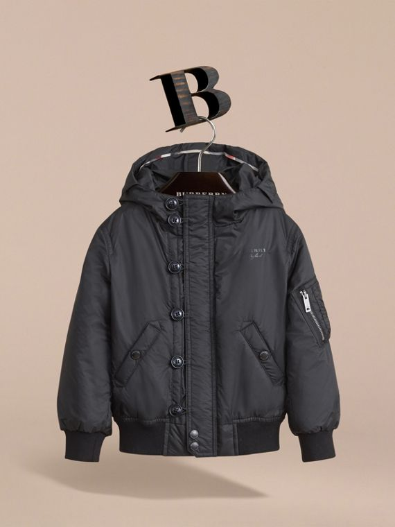 Hooded Lightweight Bomber Jacket in Black - Boy | Burberry - cell image 2