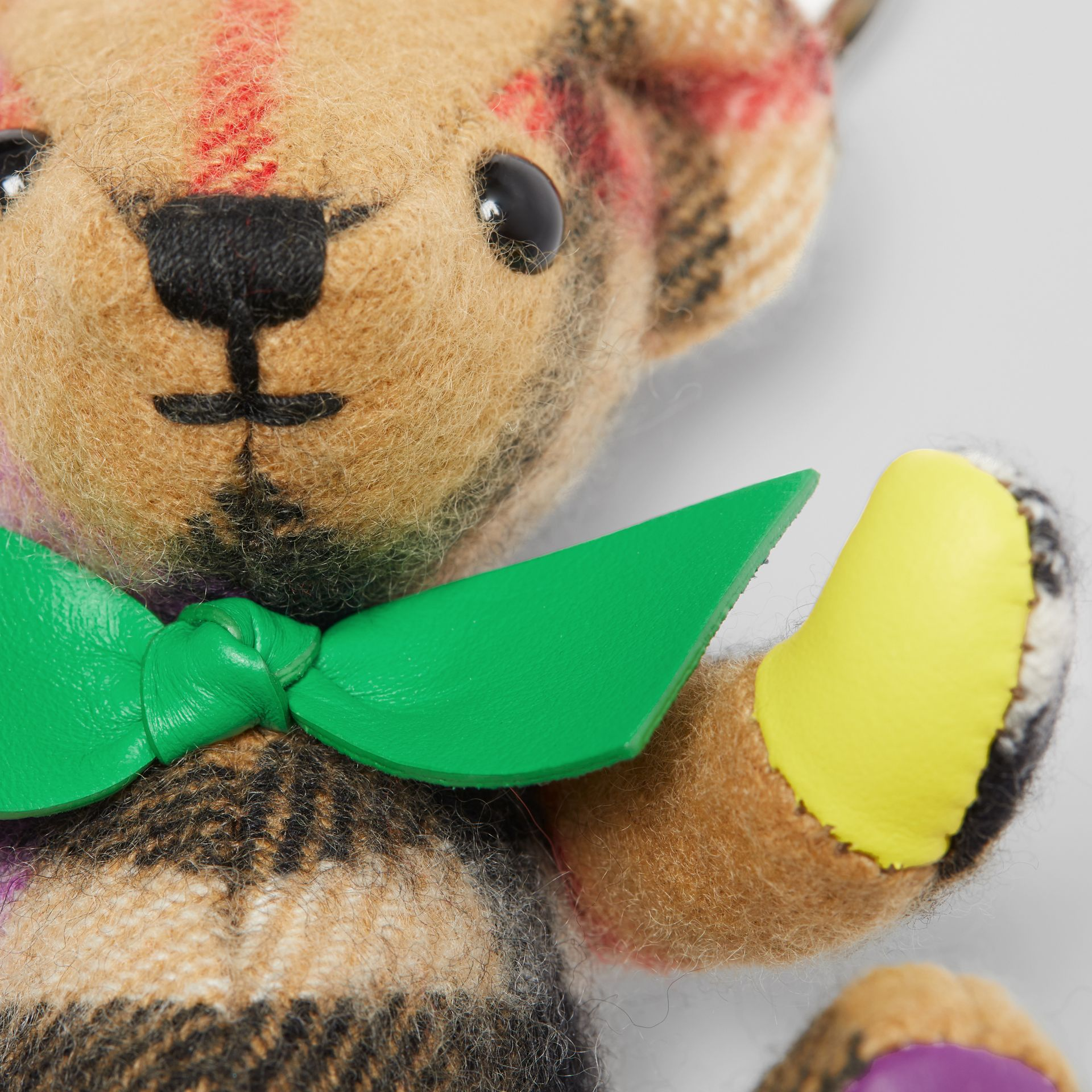 Thomas Bear Charm in Rainbow Vintage Check Cashmere in Multicolour/ Antique Yellow | Burberry United Kingdom - gallery image 1