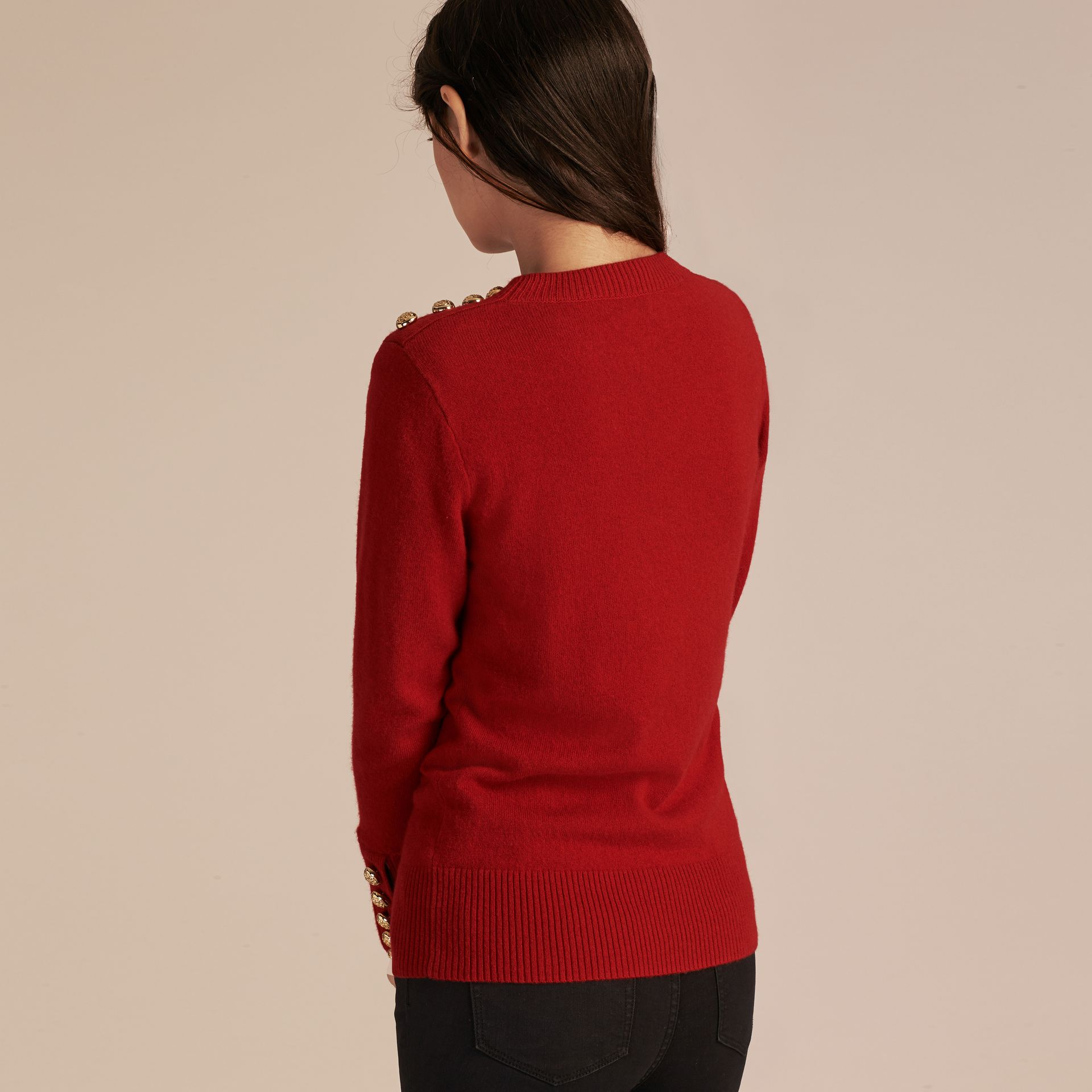 Cashmere Sweater with Crested Buttons Parade Red - gallery image 3