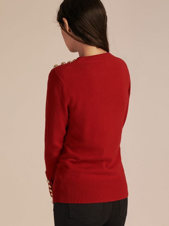 Cashmere Sweater with Crested Buttons Parade Red - cell image 2